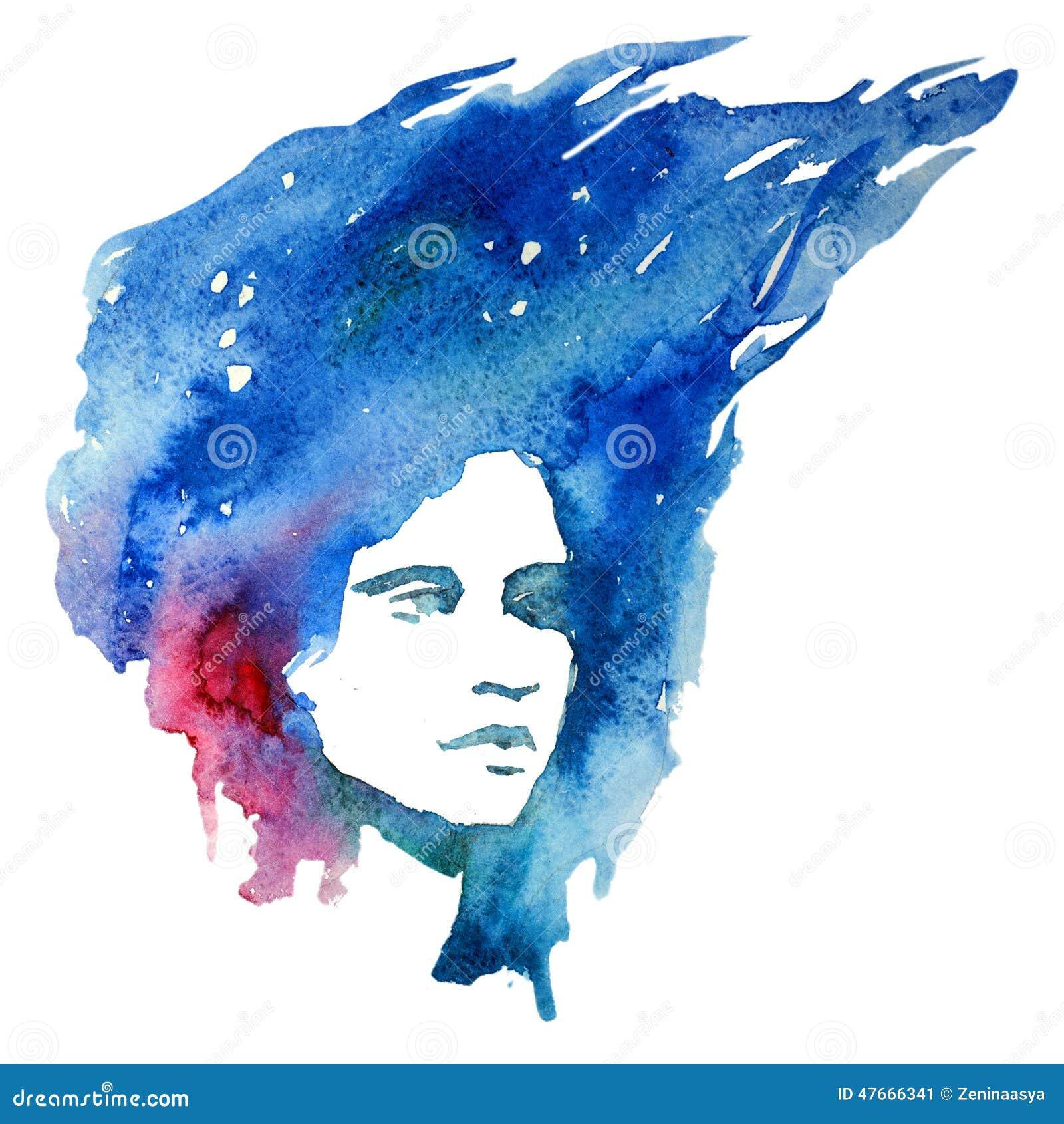 Aquarell, Mädchen, Porträtgekritzel, kreativ, Dame, Kreativität, Illustration,