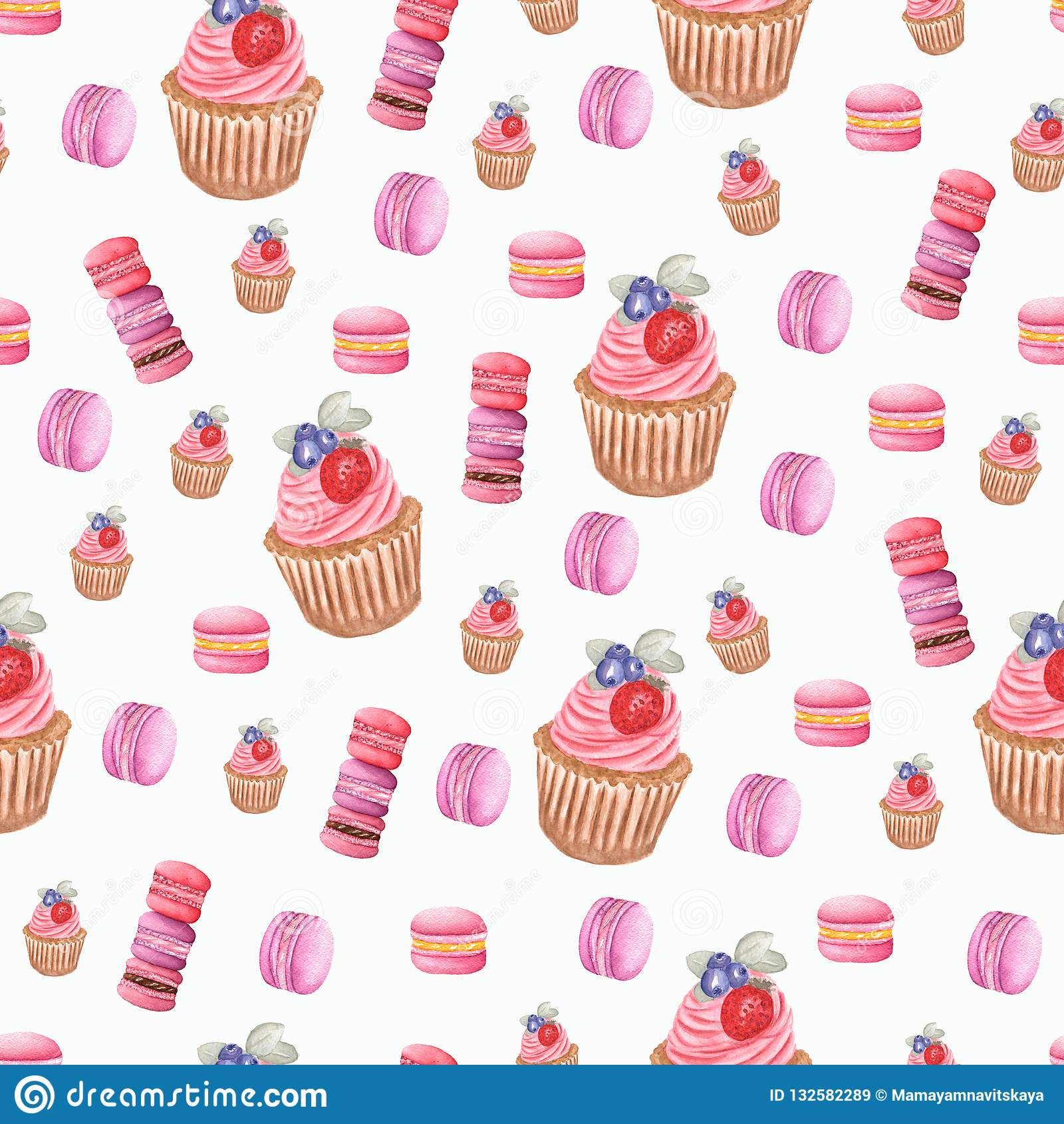 Aquarell macarons in den purpurroten, roten und rosa Farben