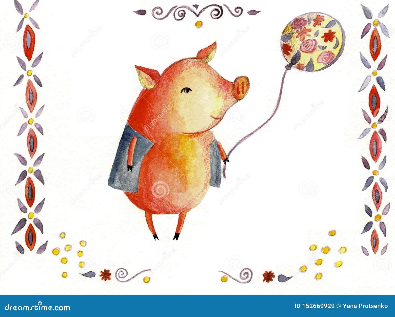 Aquarell nettes piggy lokalisiert auf weißem Hintergrund Handgezogene kleine Schweinillustration Symbol neuen Jahres 2019