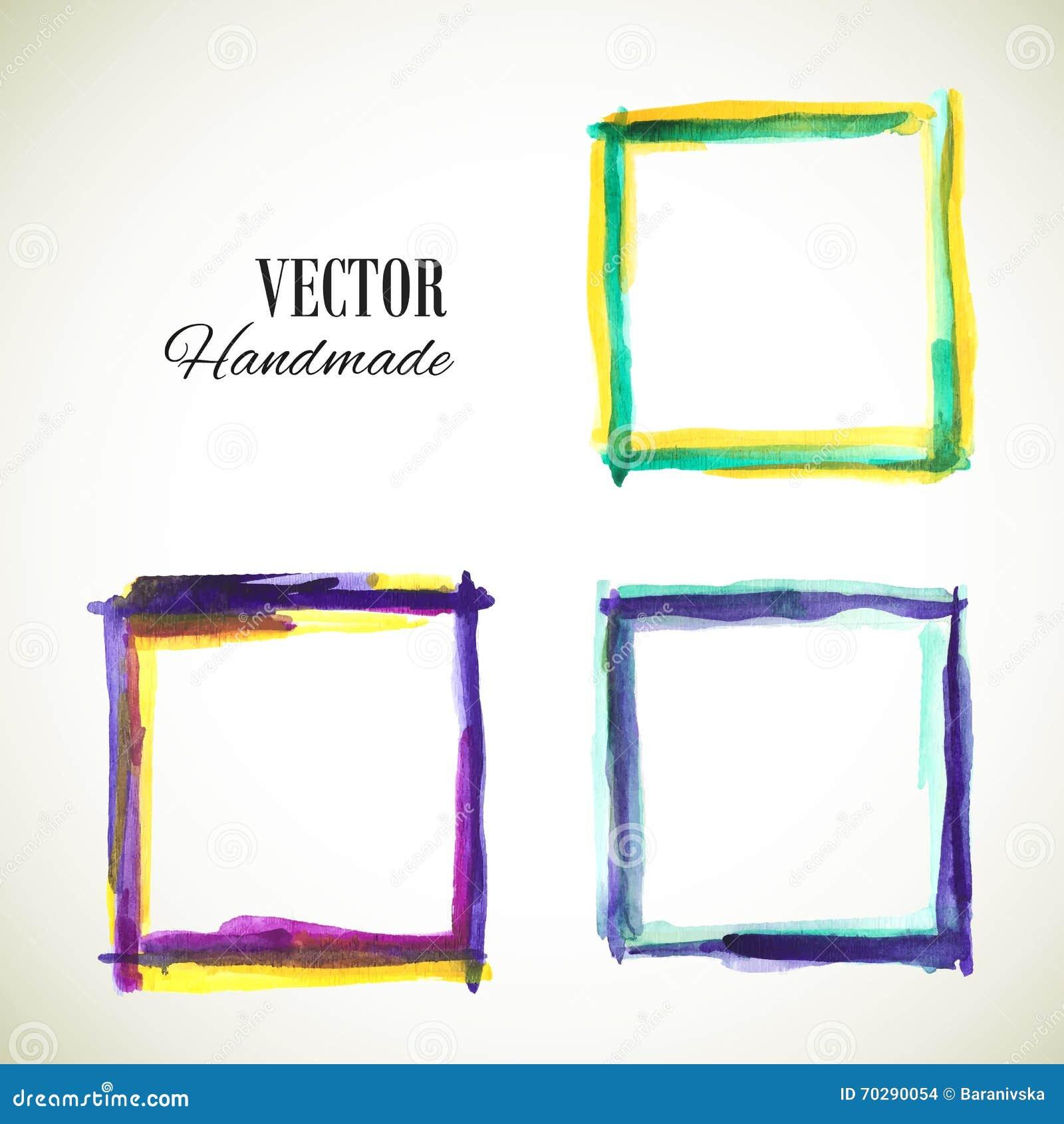 Aquarell-Rahmen-blau-violett-gelb Stock Abbildung - Illustration von ...