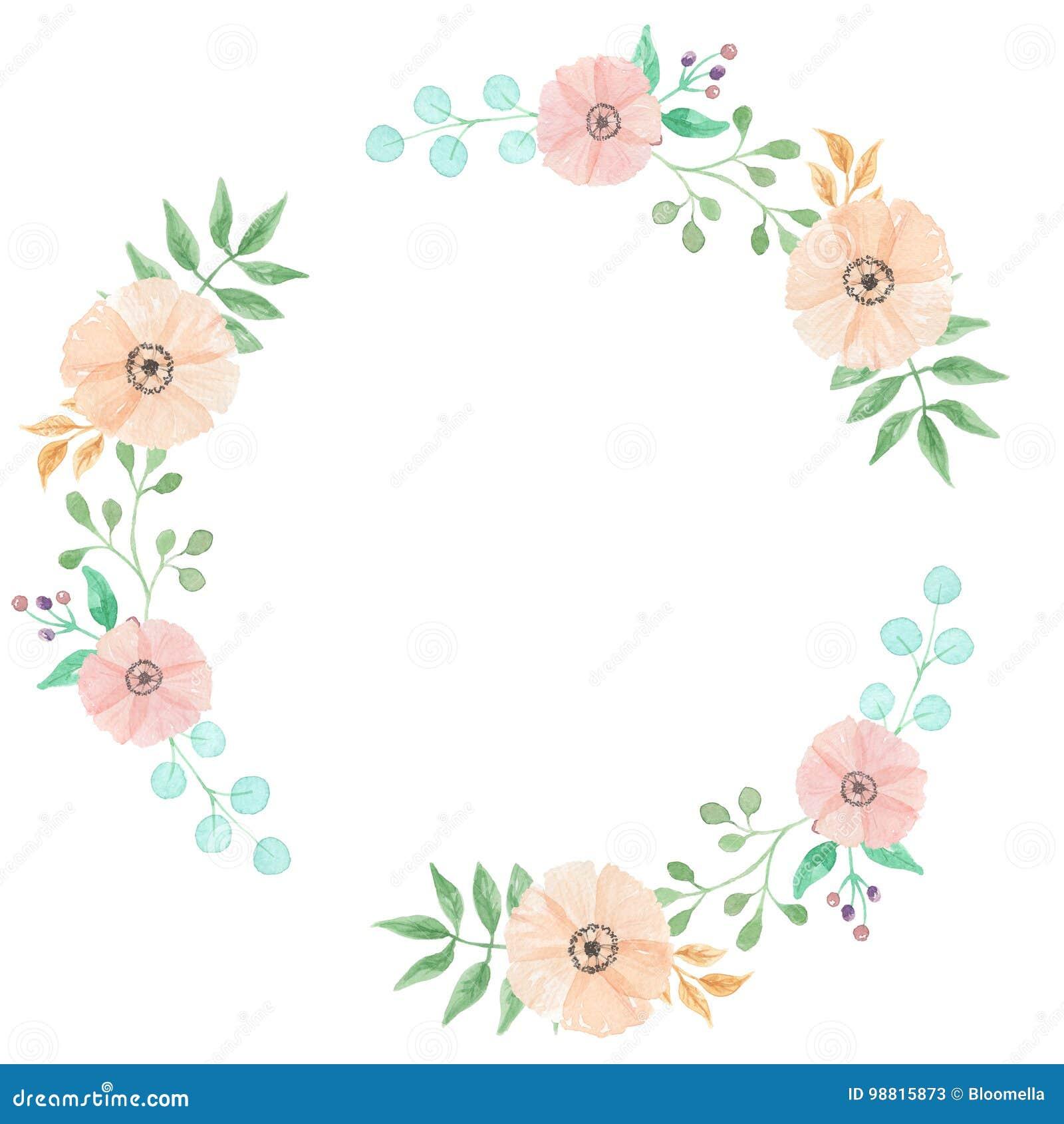 Aquarell-Rahmen Verlässt Kreis-Blumen-Frühlings-Sommer Berry Leaf ...