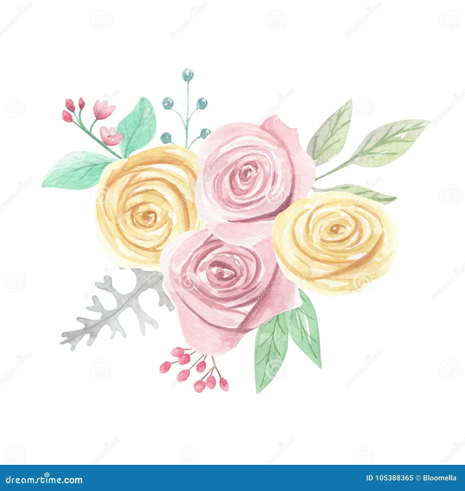 Aquarell Rosa Gelbe Rosen Beeren Blumen Fruhlings Sommer Hochzeits