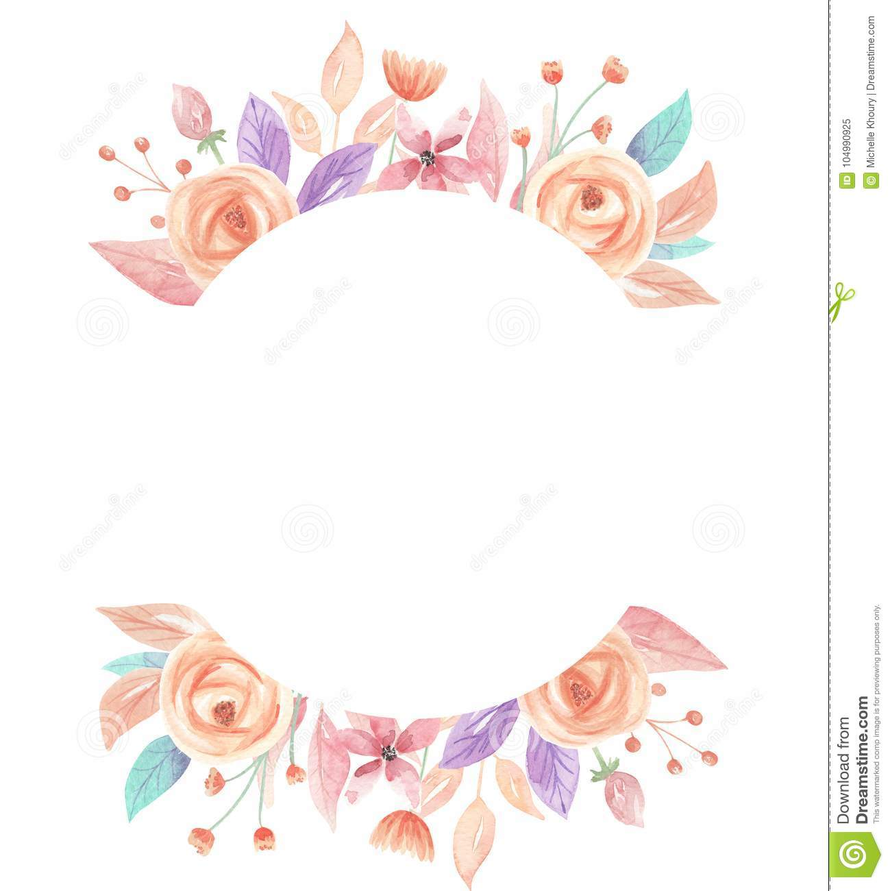 Aquarell-Sommer-Pfirsich-Coral Berries Flowers Floral Circle-Rahmen ...