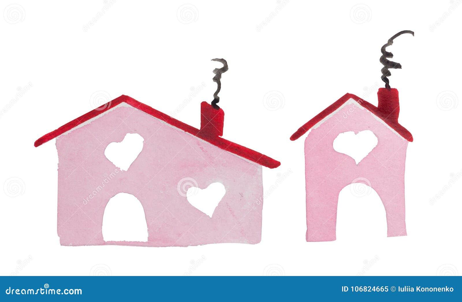 Aquarell-St.-Valentinsgruß ` s Tag-` Haus von Liebe ` der Platz, in dem Ihre Liebe ist