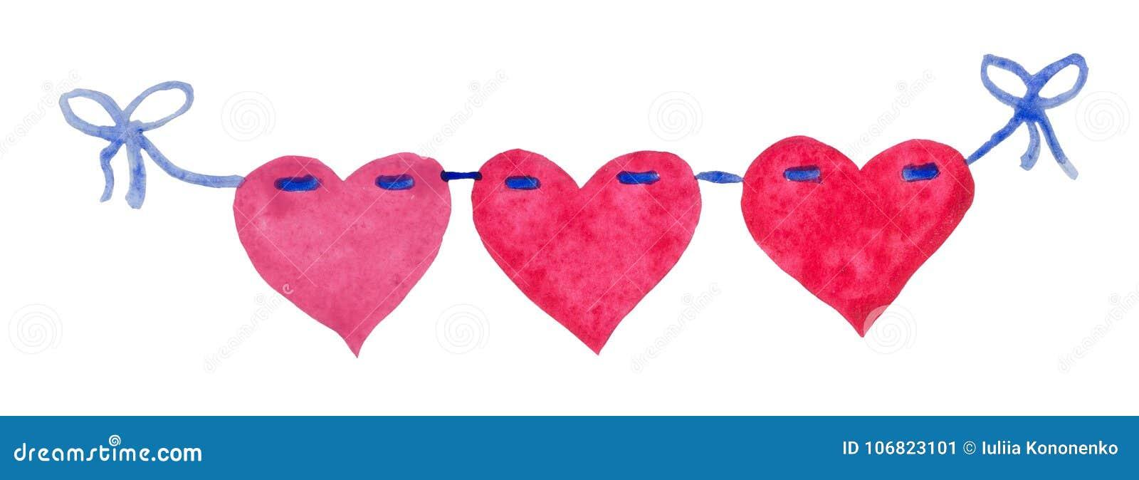 Aquarell-St.-Valentinsgruß ` s Tag-` Herzen von Liebe ` Girlande