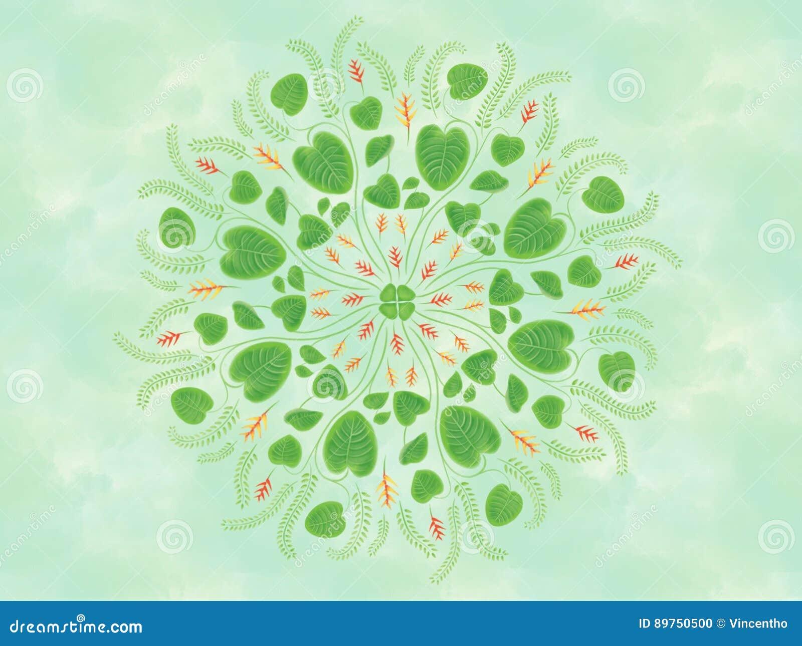 Aquarell tropische Heliconia-Blume Blumen-Mandala Painting Illustration