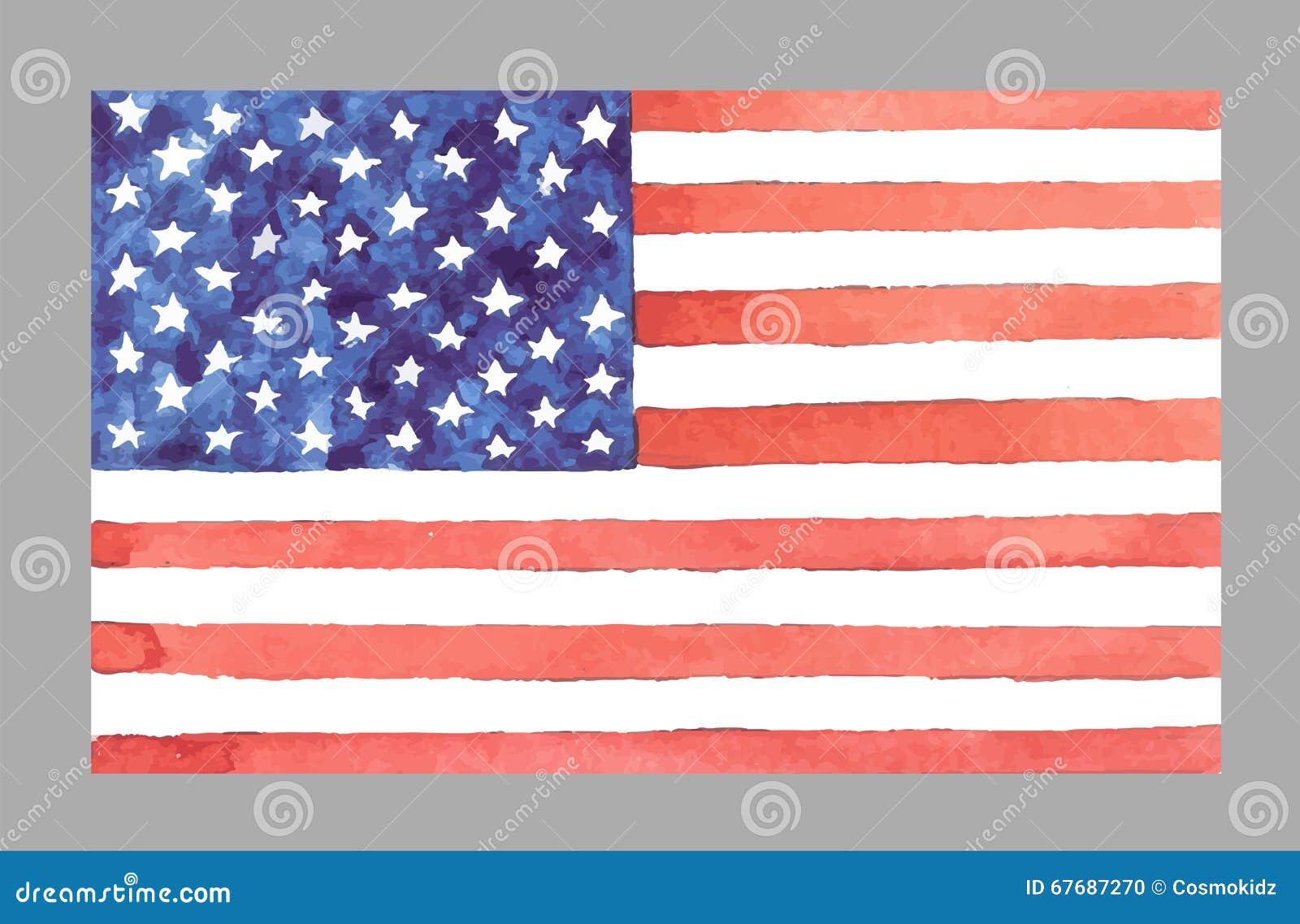 Aquarell USA-Flagge Auch Im Corel Abgehobenen Betrag Stock Abbildung ...