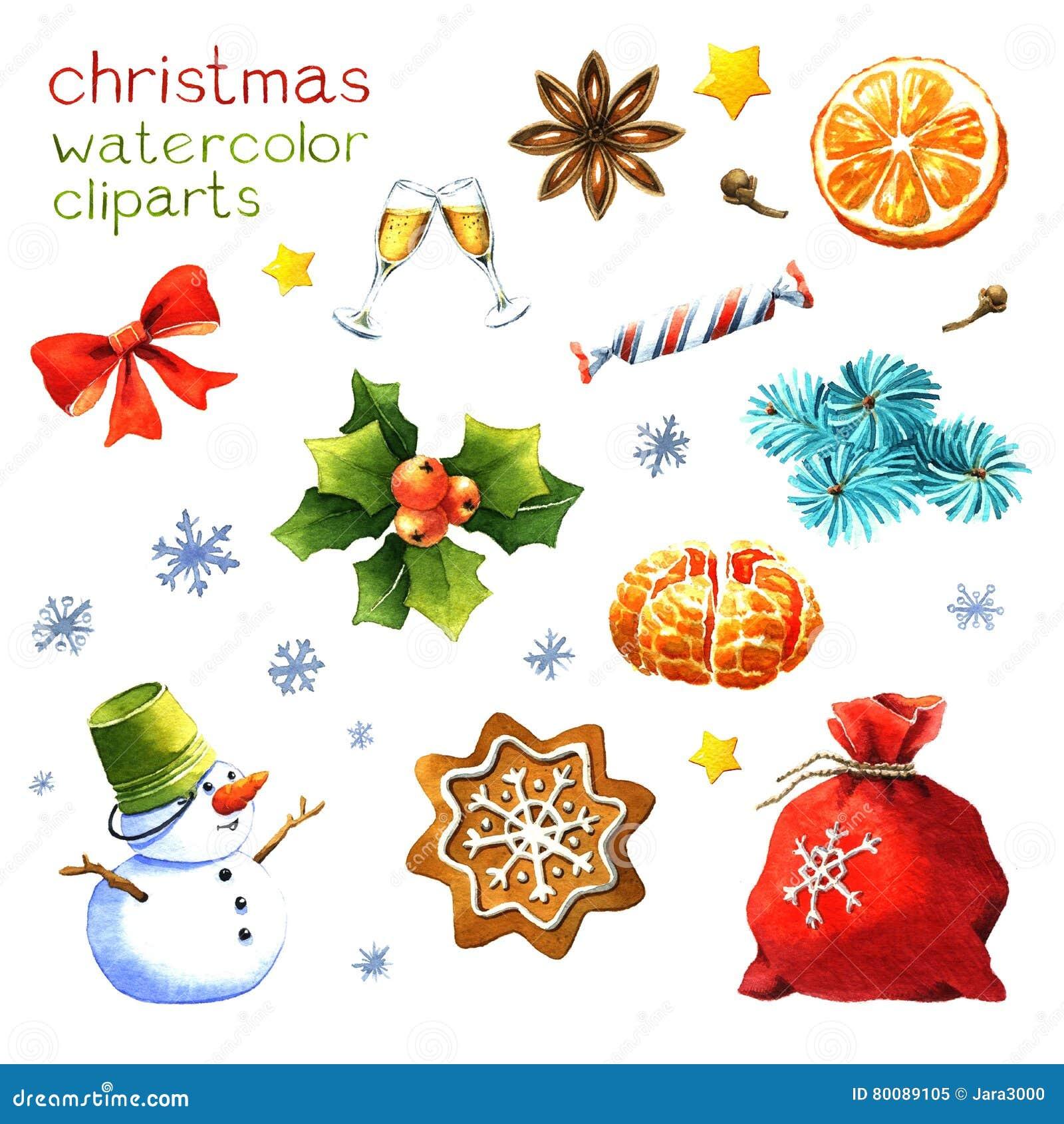 Aquarell weihnachten clipart stock abbildung illustration von scheibe pl tzchen 80089105 - Aquarell weihnachten ...