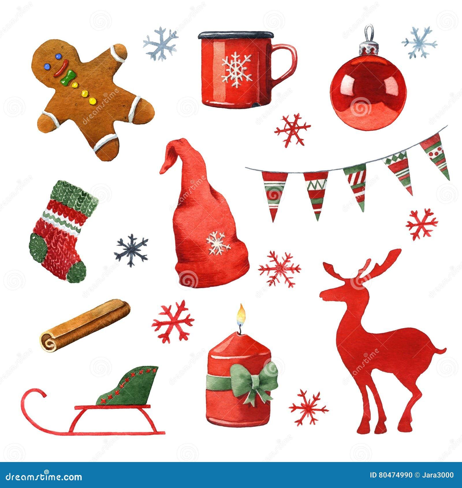 Weihnachten Clipart Bilder.Aquarell Weihnachten Clipart Stock Abbildung Illustration Von