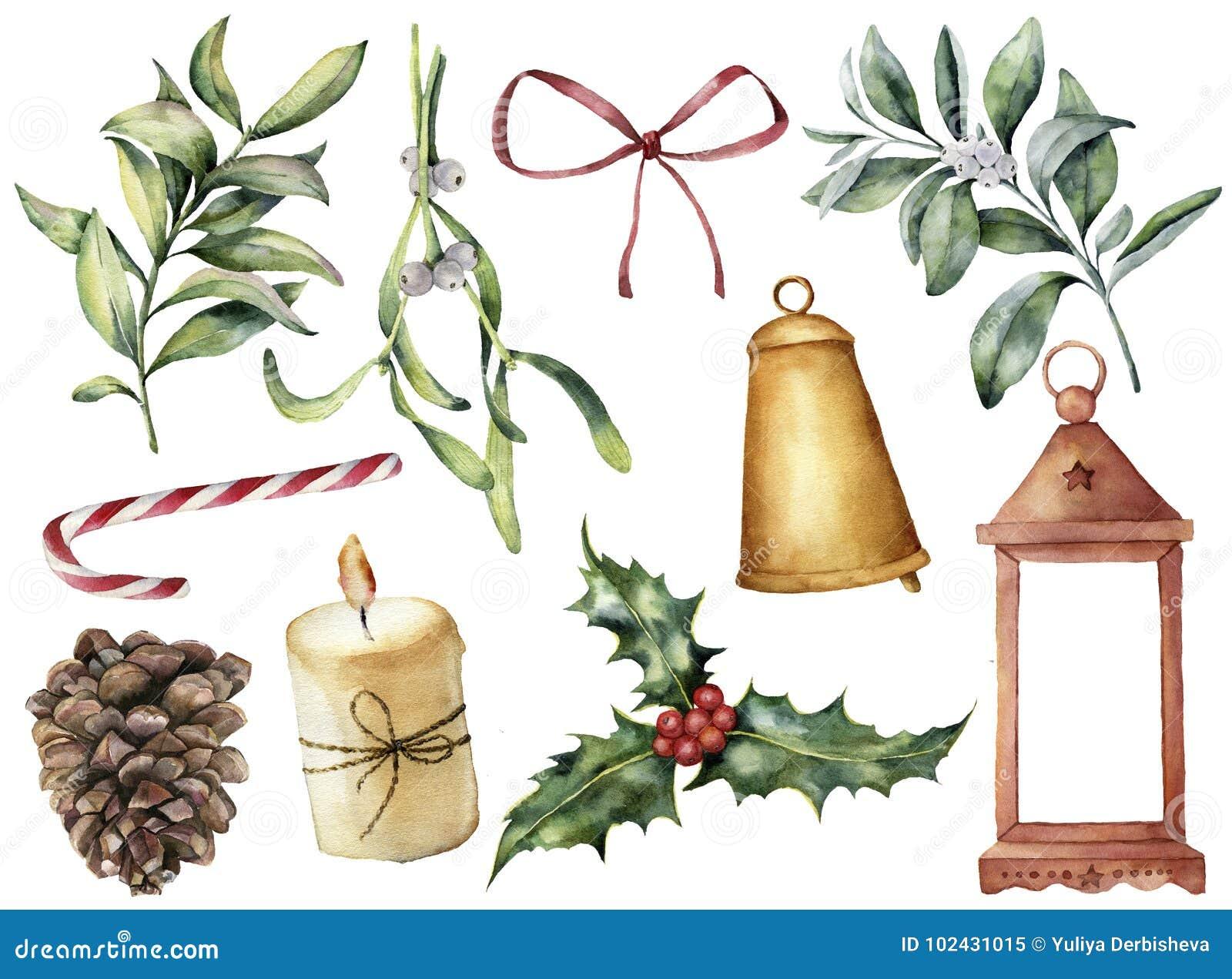 Aquarell-Weihnachtsdekor mit Anlage und Beeren Handgemalter Eukalyptus, Snowberry, Glocke, roter Bogen, Kerze, Mistelzweig