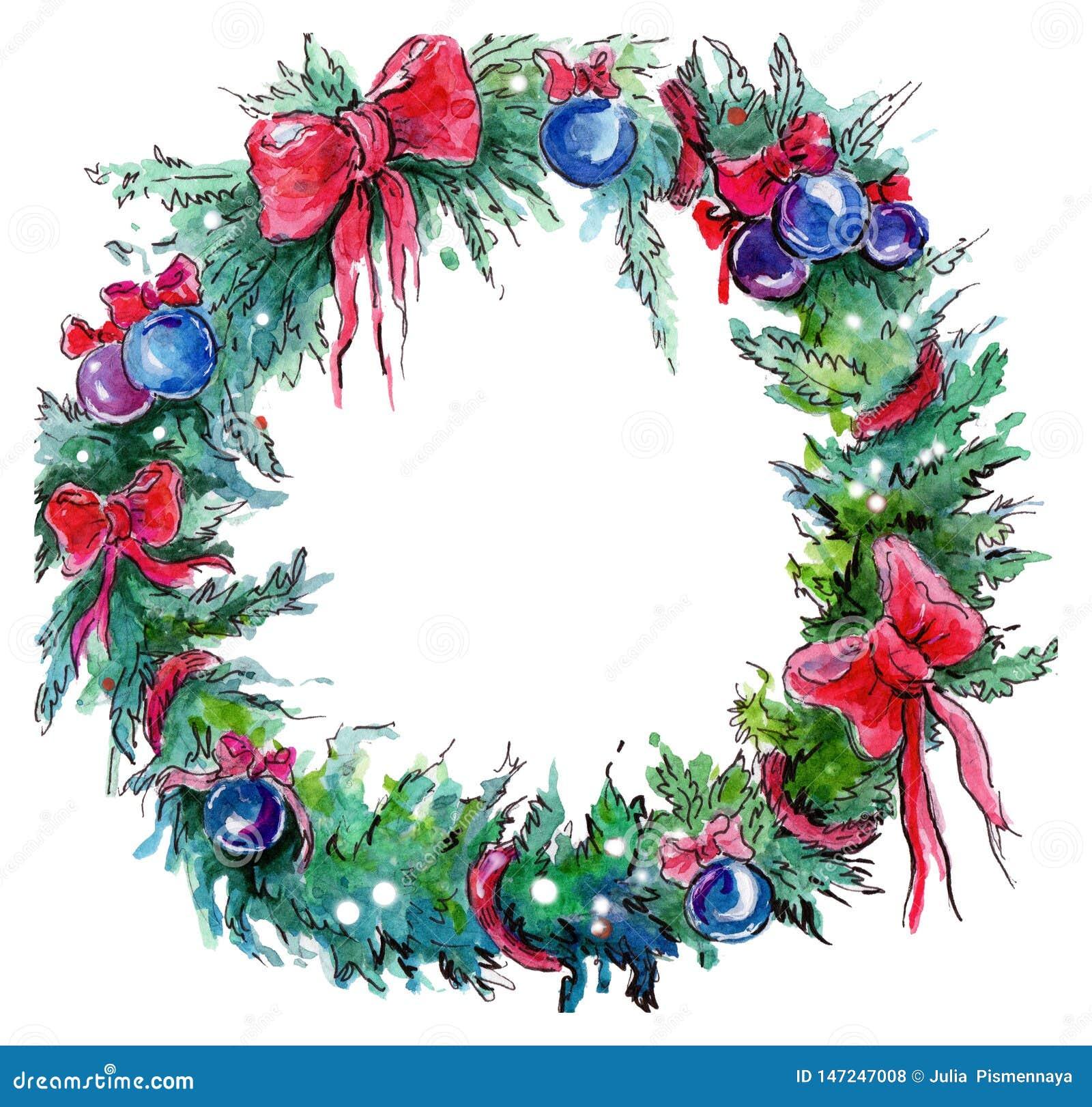 Aquarell-Weihnachtskranz
