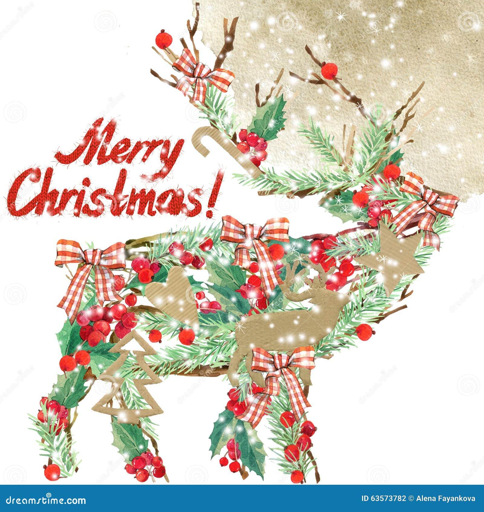 Aquarell weihnachtsren text der wunsch frohen weihnachten - Aquarell weihnachten ...