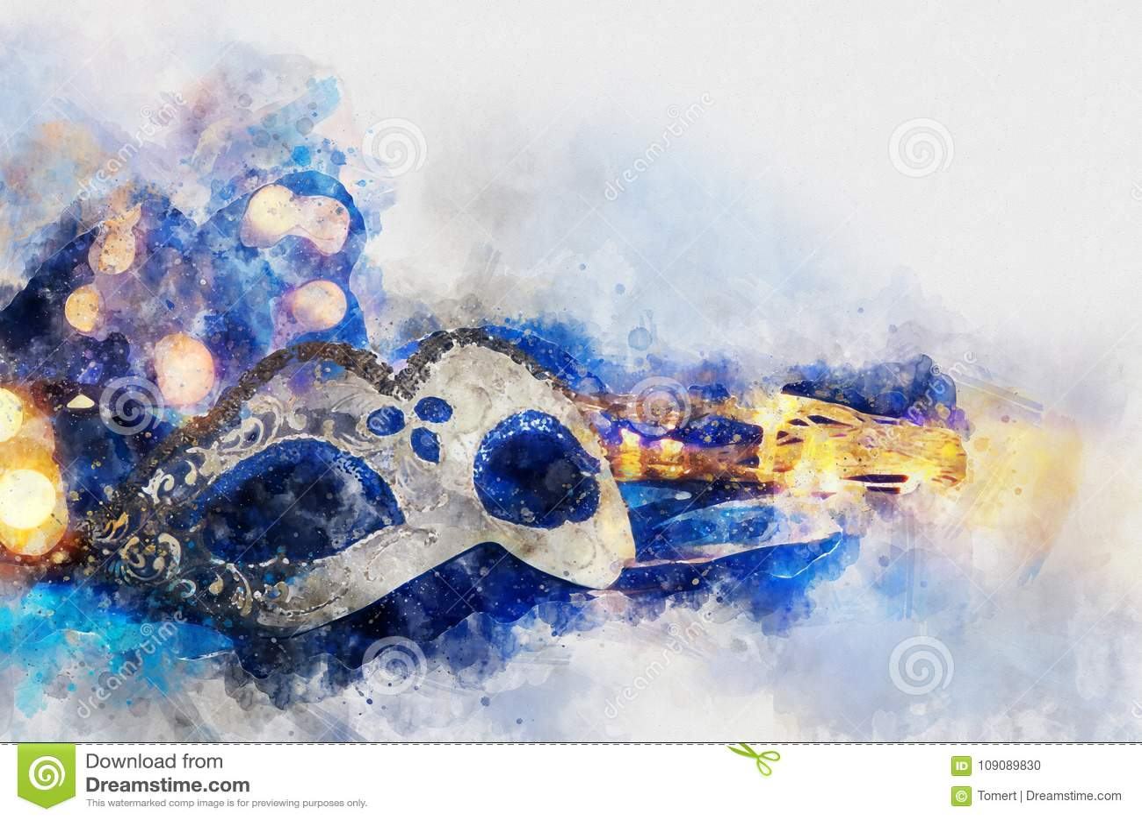 Aquarellart und abstraktes Bild von elegantem venetianischem, Karnevalmaske