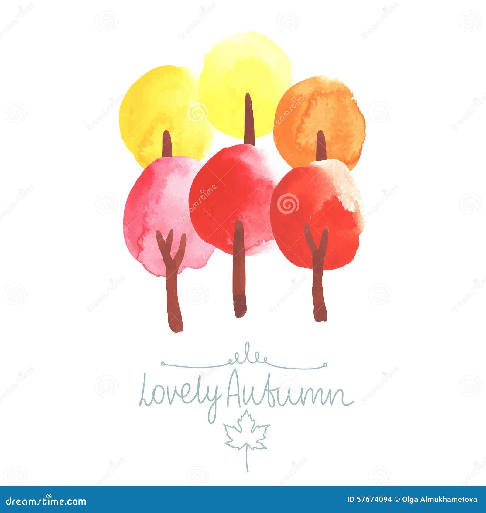 Aquarellbäume in den Farben des Herbstes