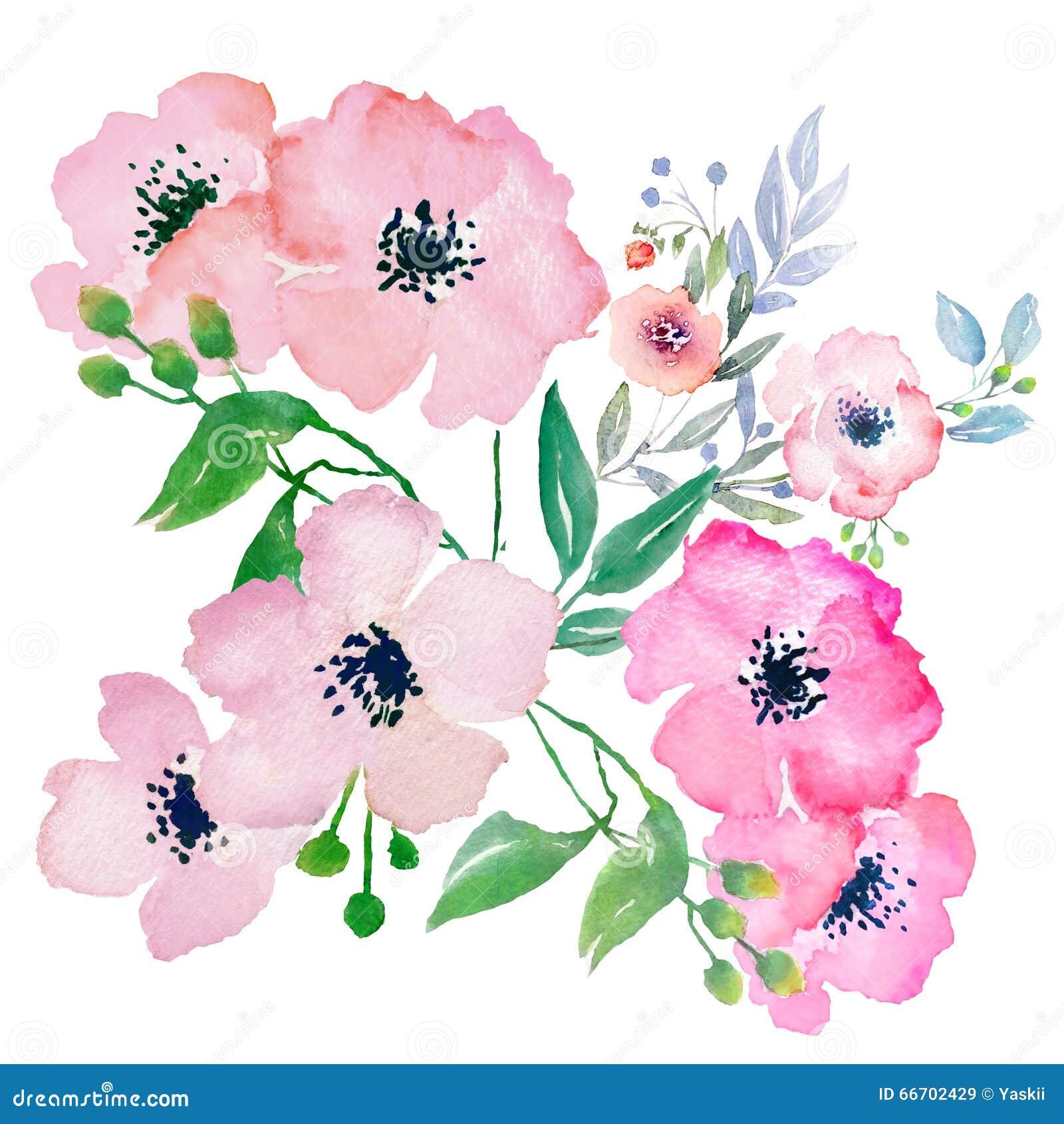 Aquarellblumen, Clipart stock abbildung. Illustration von ...