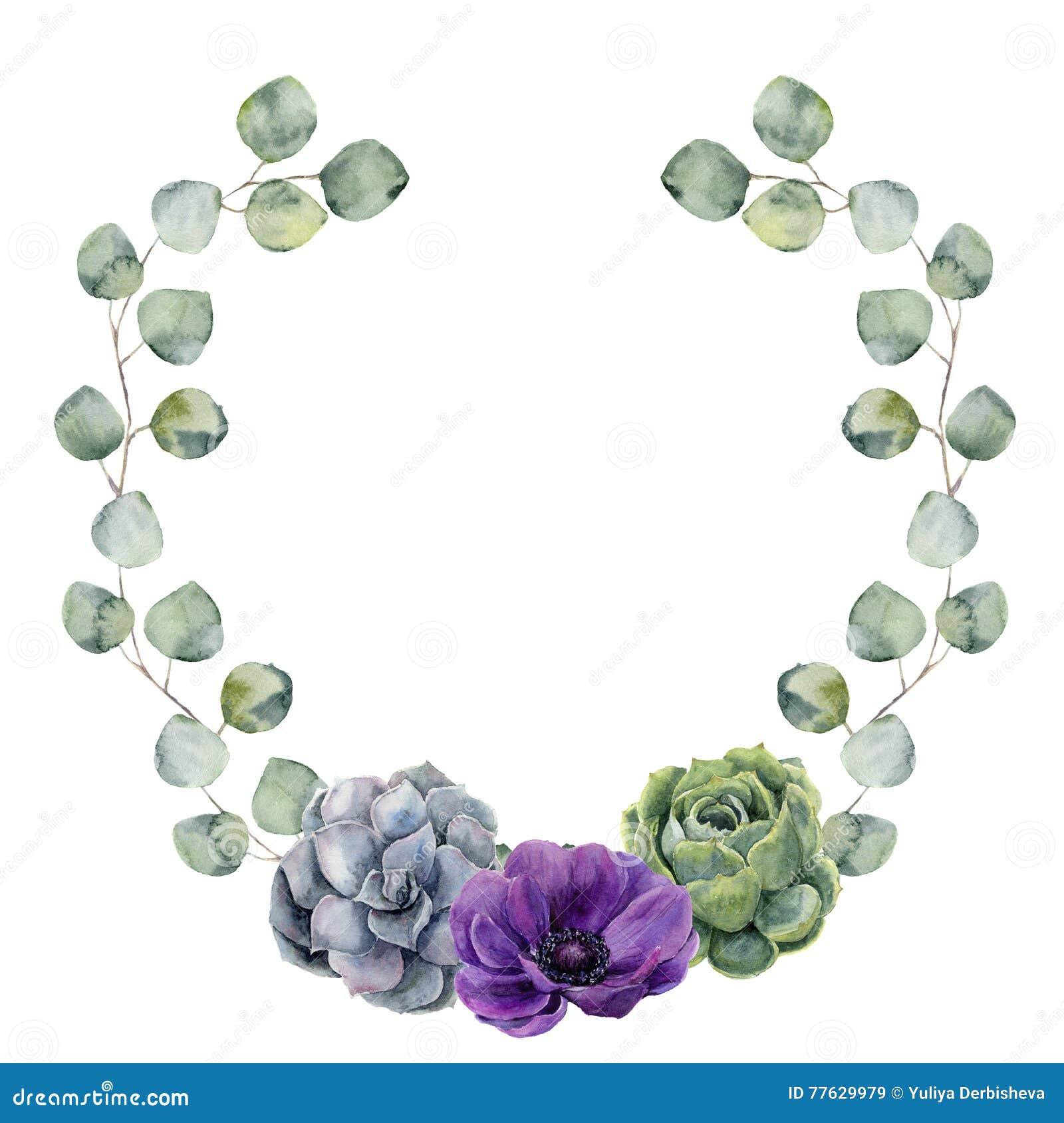Aquarellblumengrenze mit Eukalyptus des silbernen Dollars verlässt, Succulent- und Anemonenblume Handgemalter Kranz mit Niederlas
