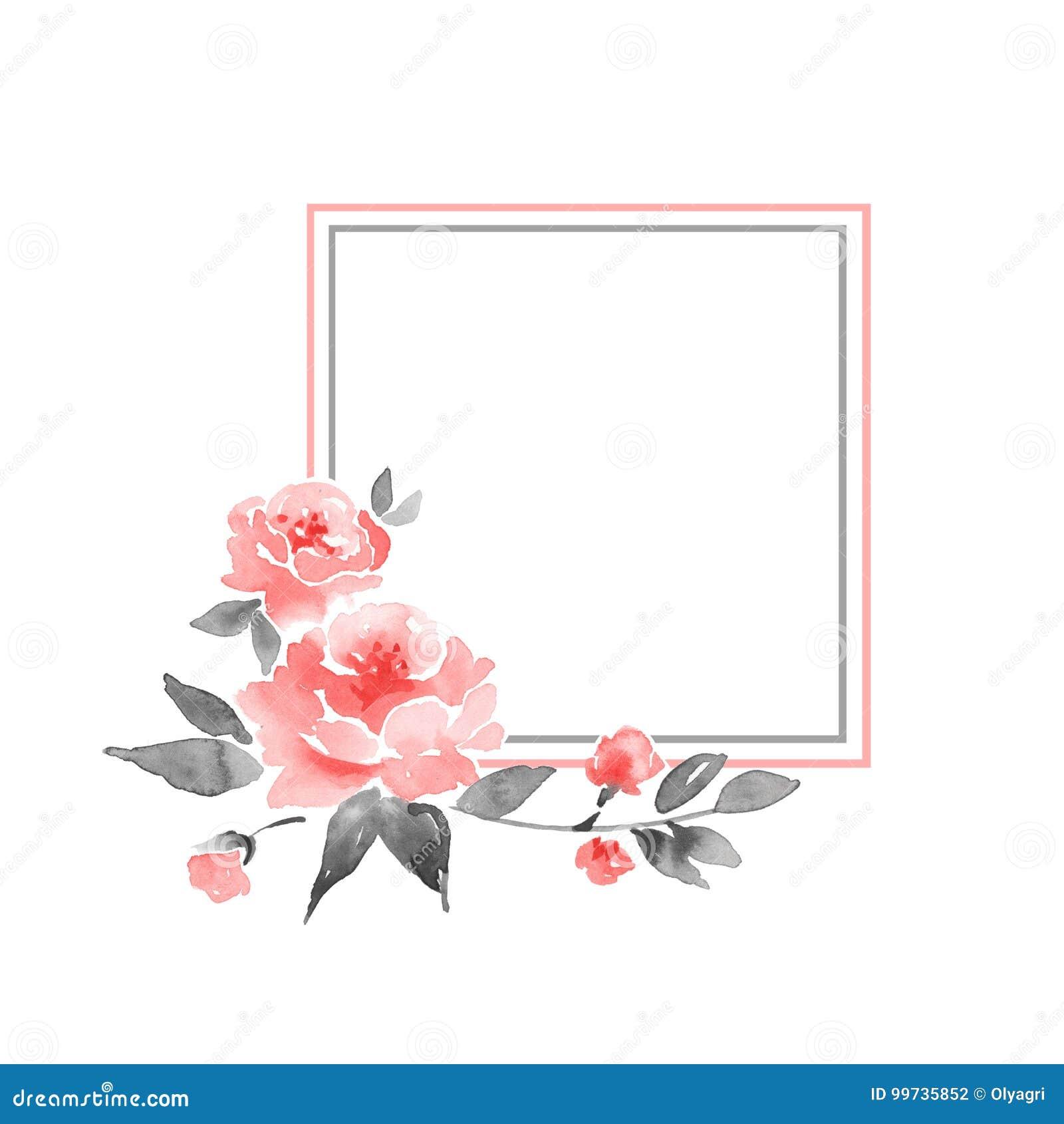 Aquarellblumenrahmen Element für Design 1