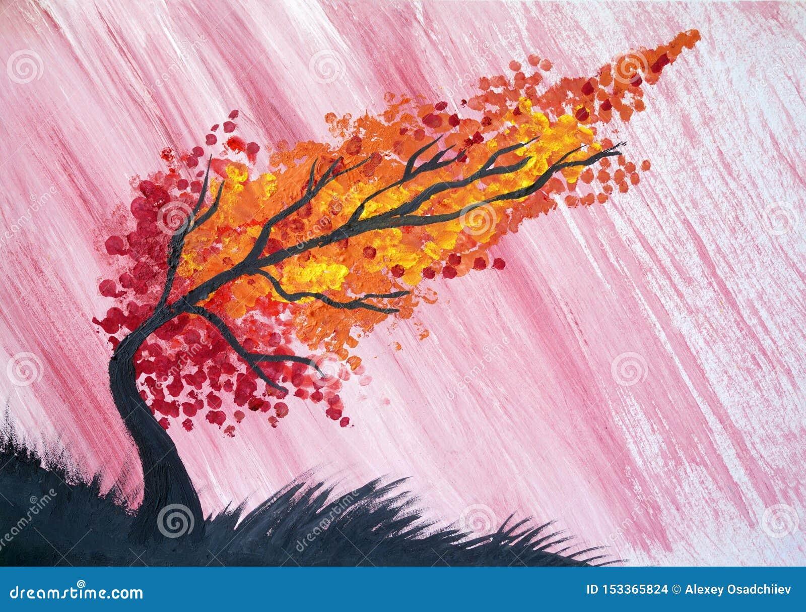 Aquarelle D'arbre D'automne De Pluie D'orage Illustration Stock -  Illustration du automne, orage: 153365824