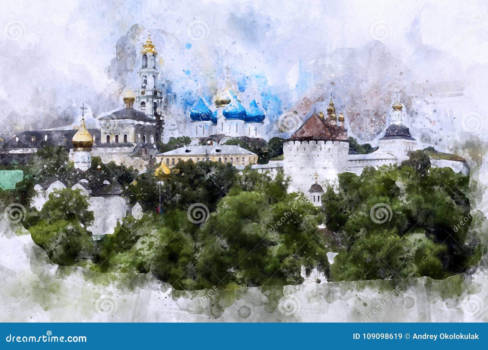 Aquarelle d horizon de Sergiev Posad