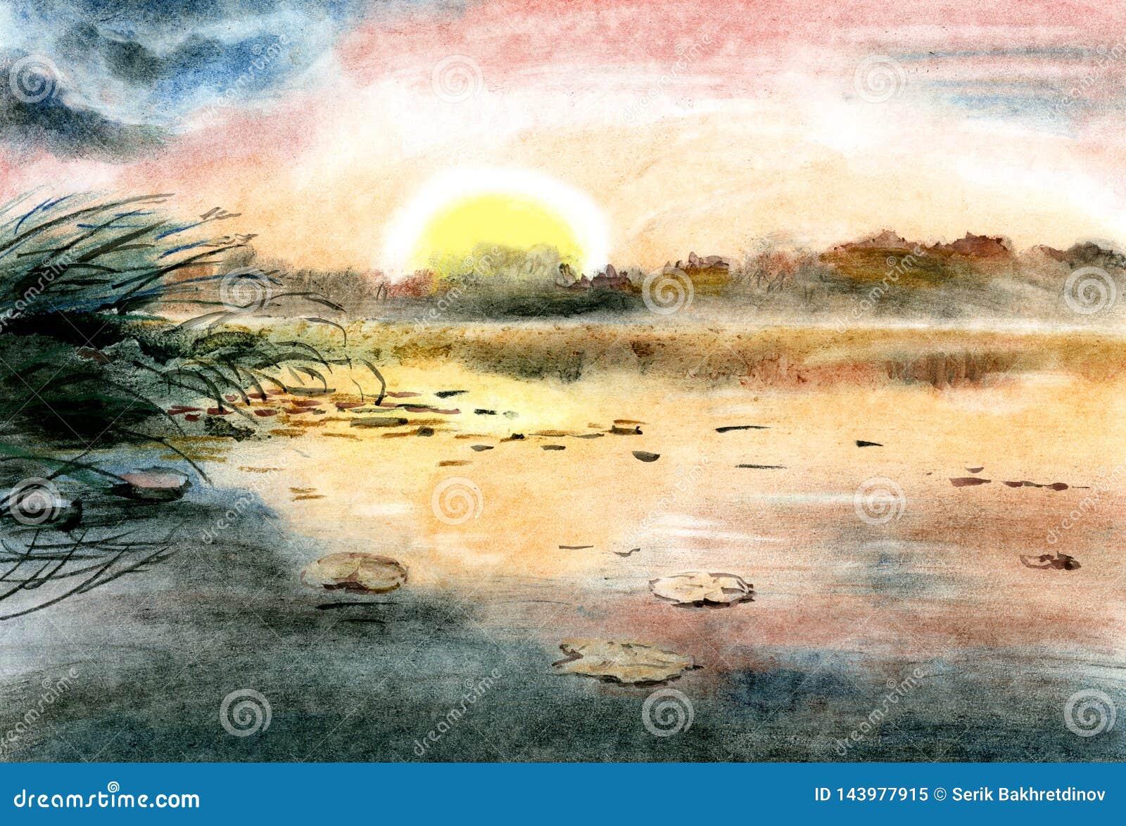 Aquarelle de dessin d illustration Au-dessus du lac ?galisant, des ensembles du soleil, du rose et du ciel bleu refl?t?s dans le