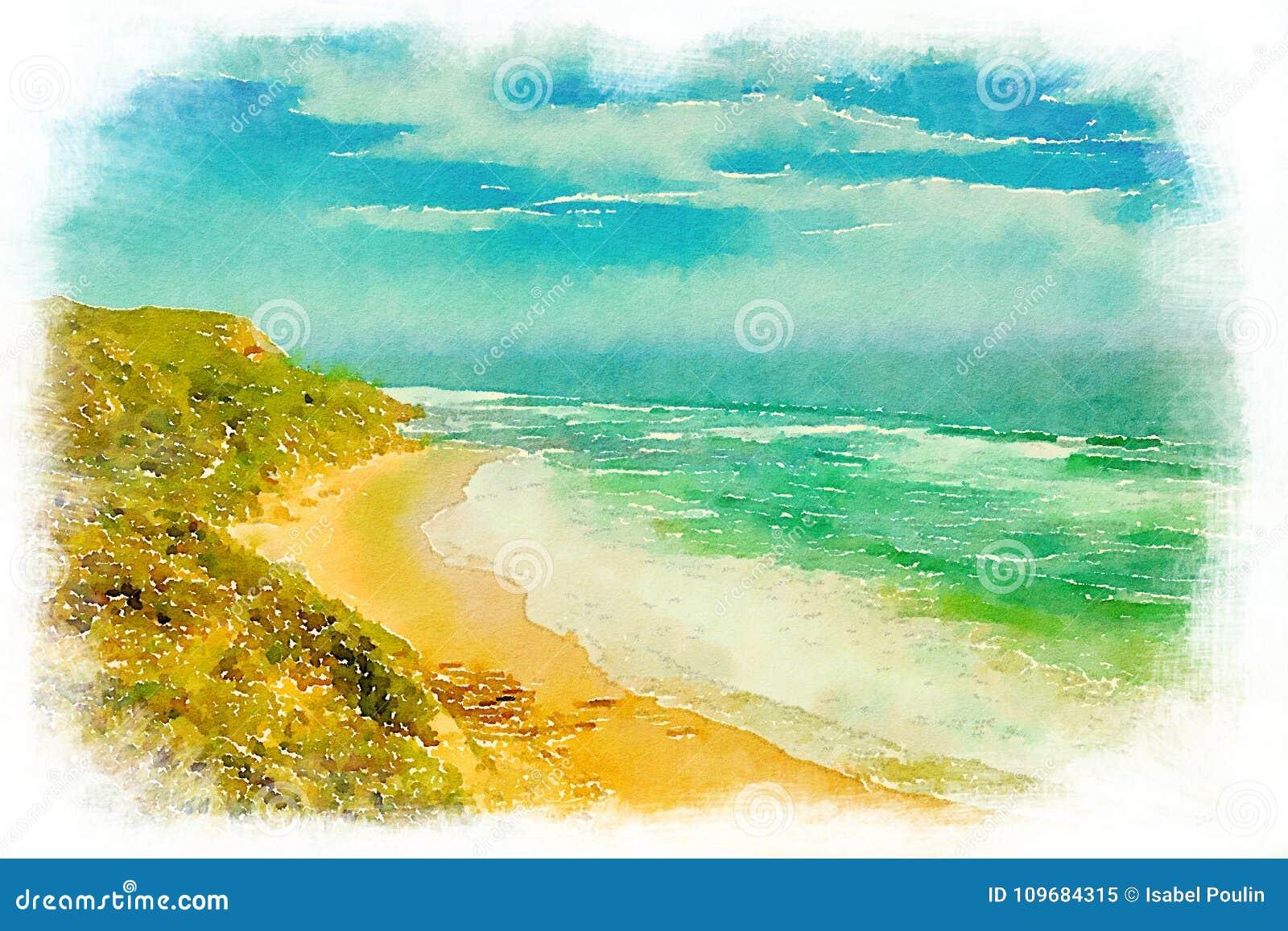 Aquarelle de plage de Glenair dans l Australie