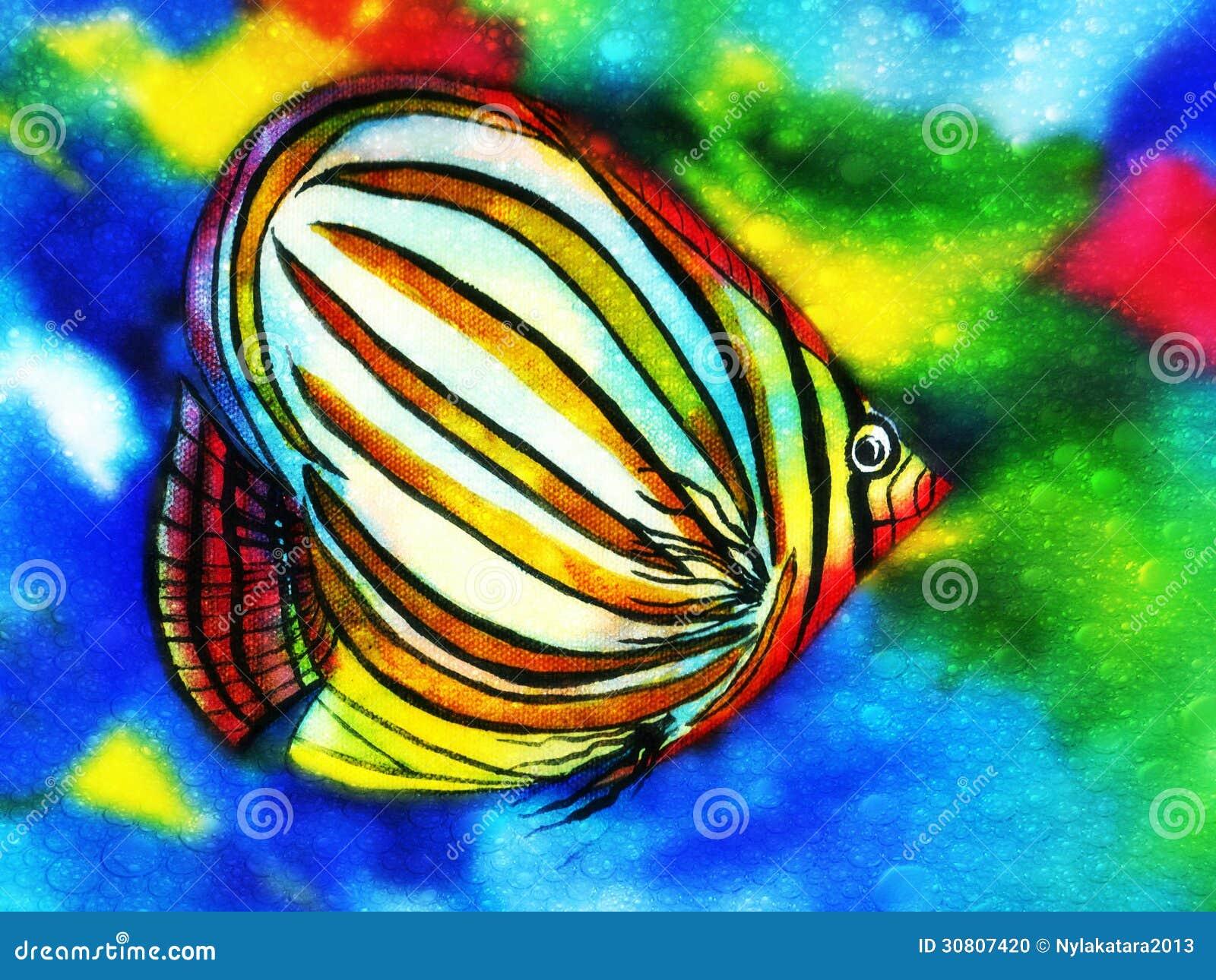 Aquarelle De Poissons D 39 Angle Avec Des Bulles De L 39 Eau Photo Stock Image 30807420