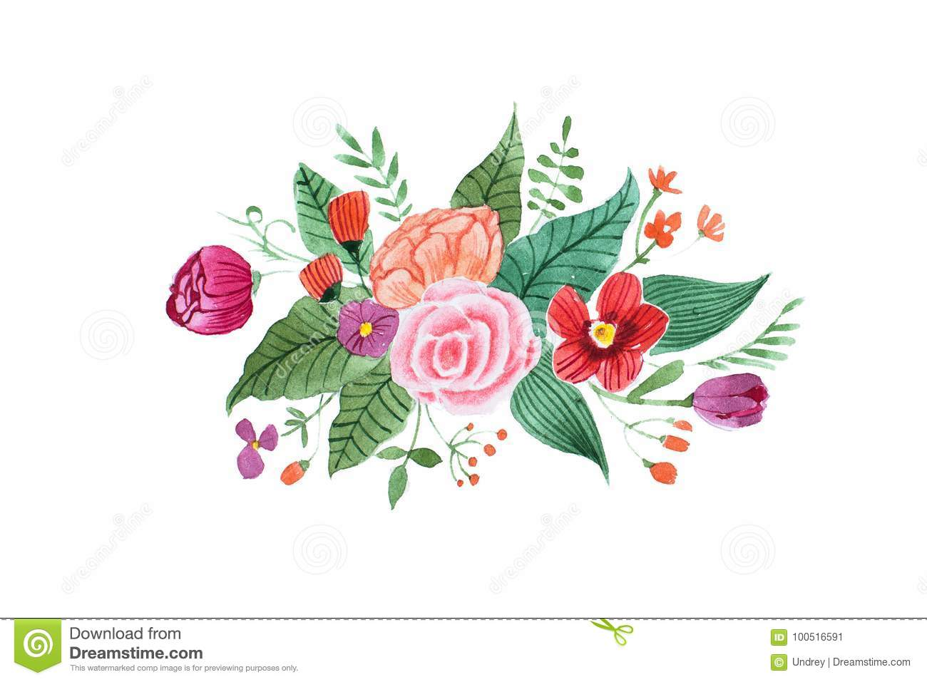 Aquarelle Drawing Of Pretty Little Bouquet Made Of Various Red
