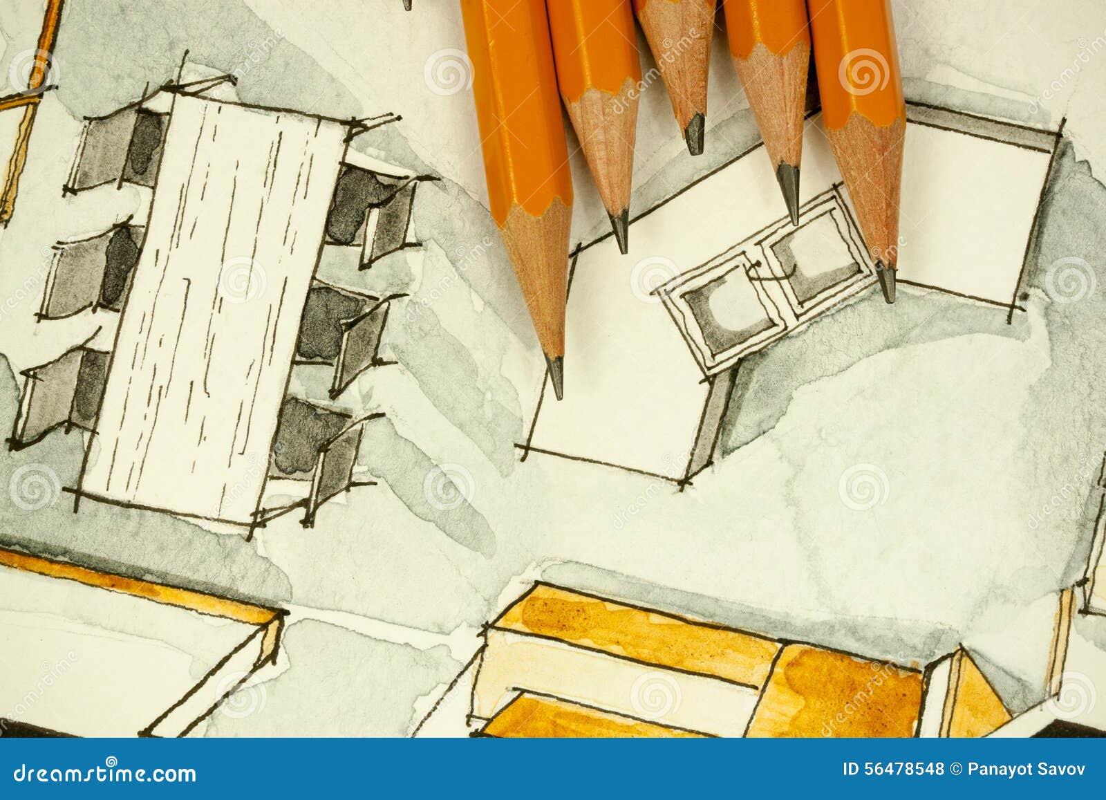 Aquarelle et peinture à main levée à l encre noire de croquis de salle à manger plate de plan d étage d appartement avec crayons