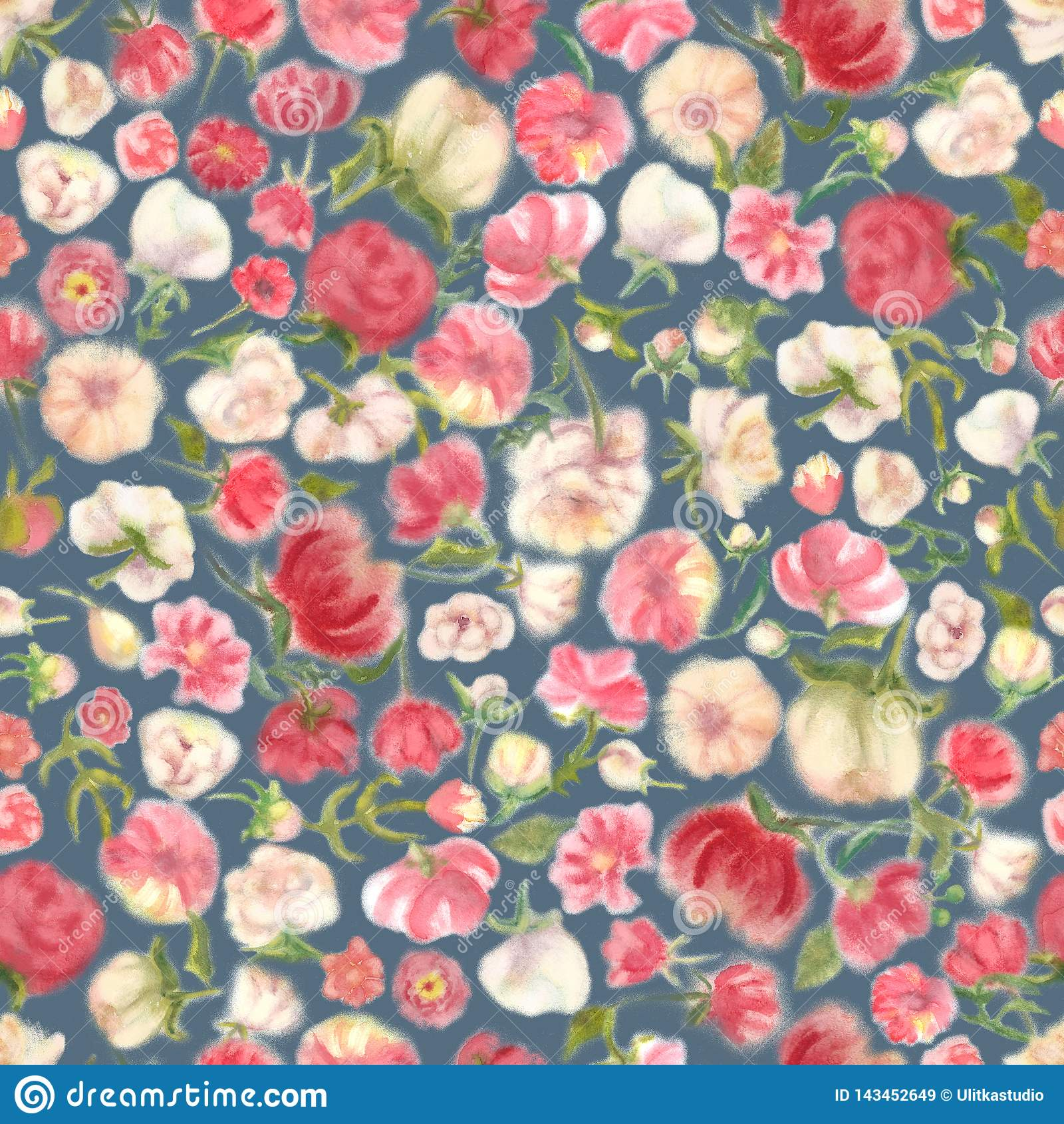 Aquarelle Flower Seamless Wallpaper Blur Floral Stock