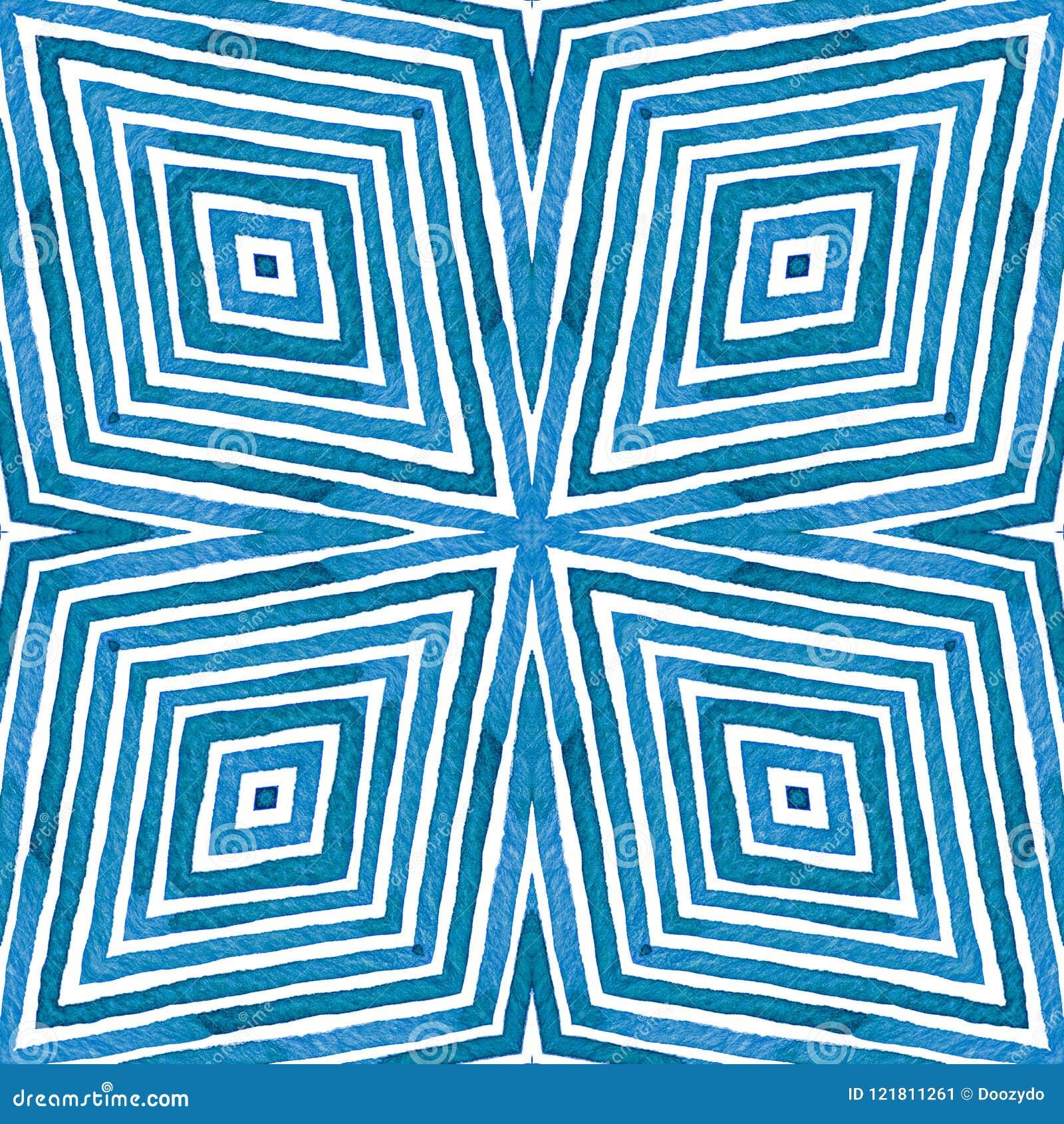Aquarelle géométrique bleue Modèle sans couture vivant Rayures tirées par la main Texture de brosse Ornement excellent de Chevron