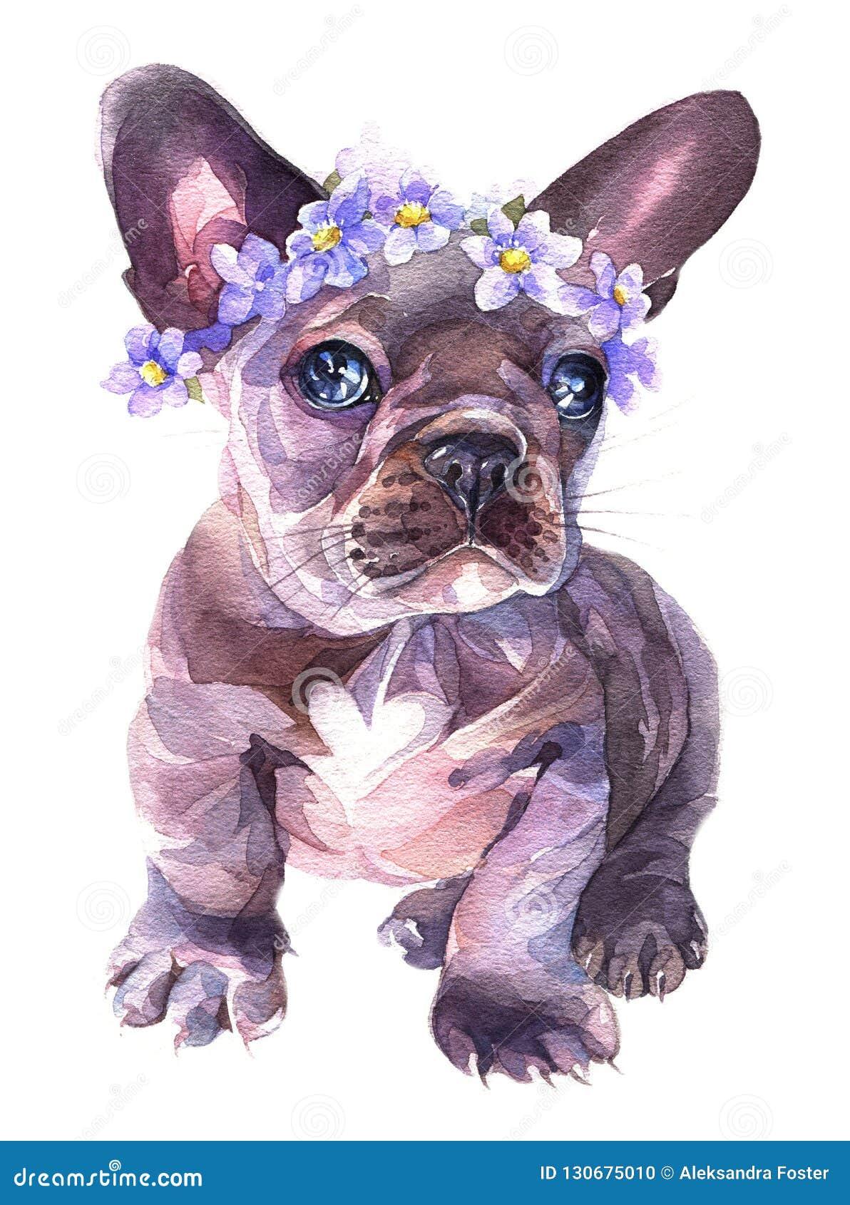 Aquarelle peinte à la main Le bouledogue français avec des fleurs tressent sur le sien entendu