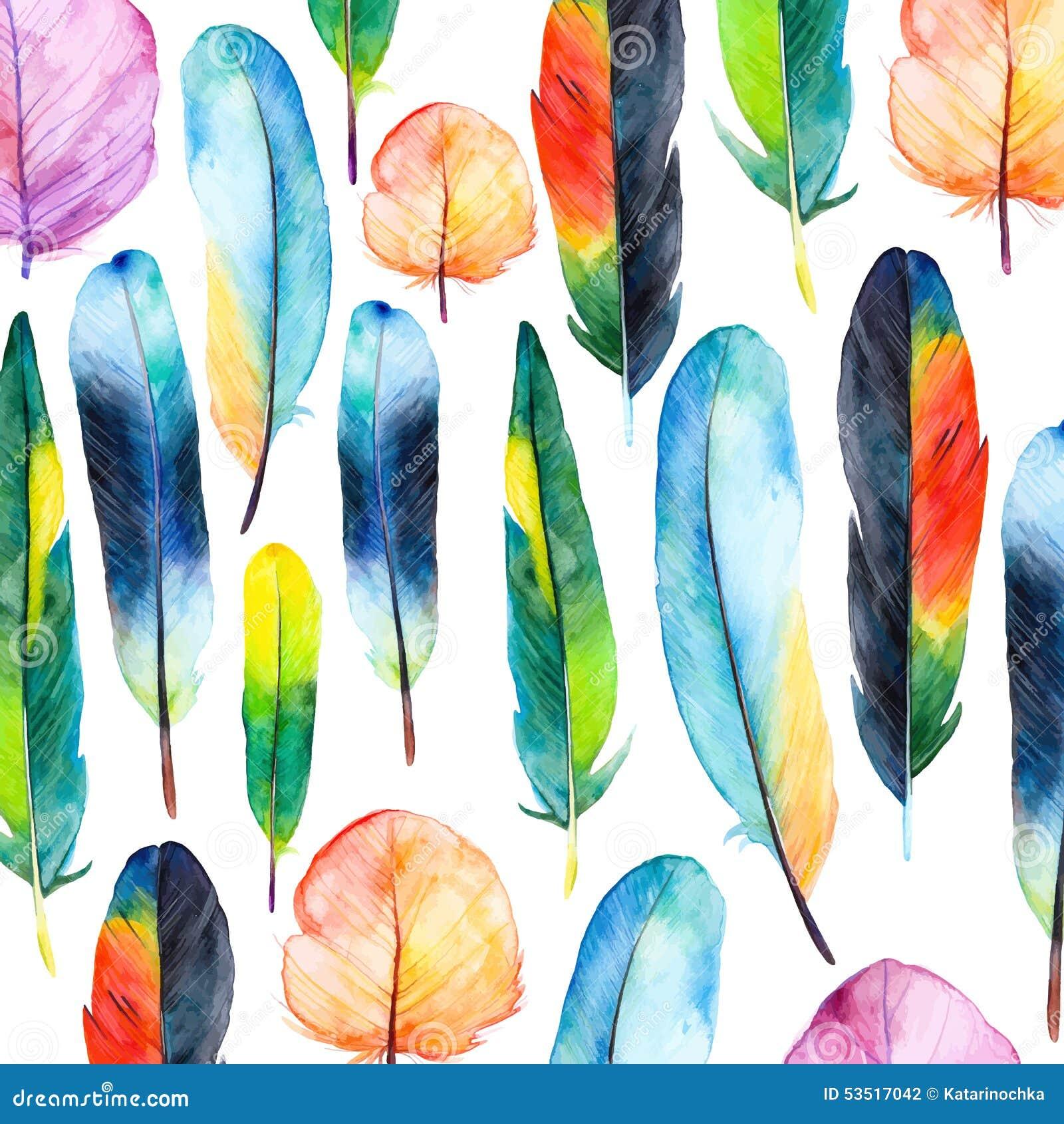 Aquarellfedern eingestellt Hand gezeichnete Vektorillustration mit bunten Federn