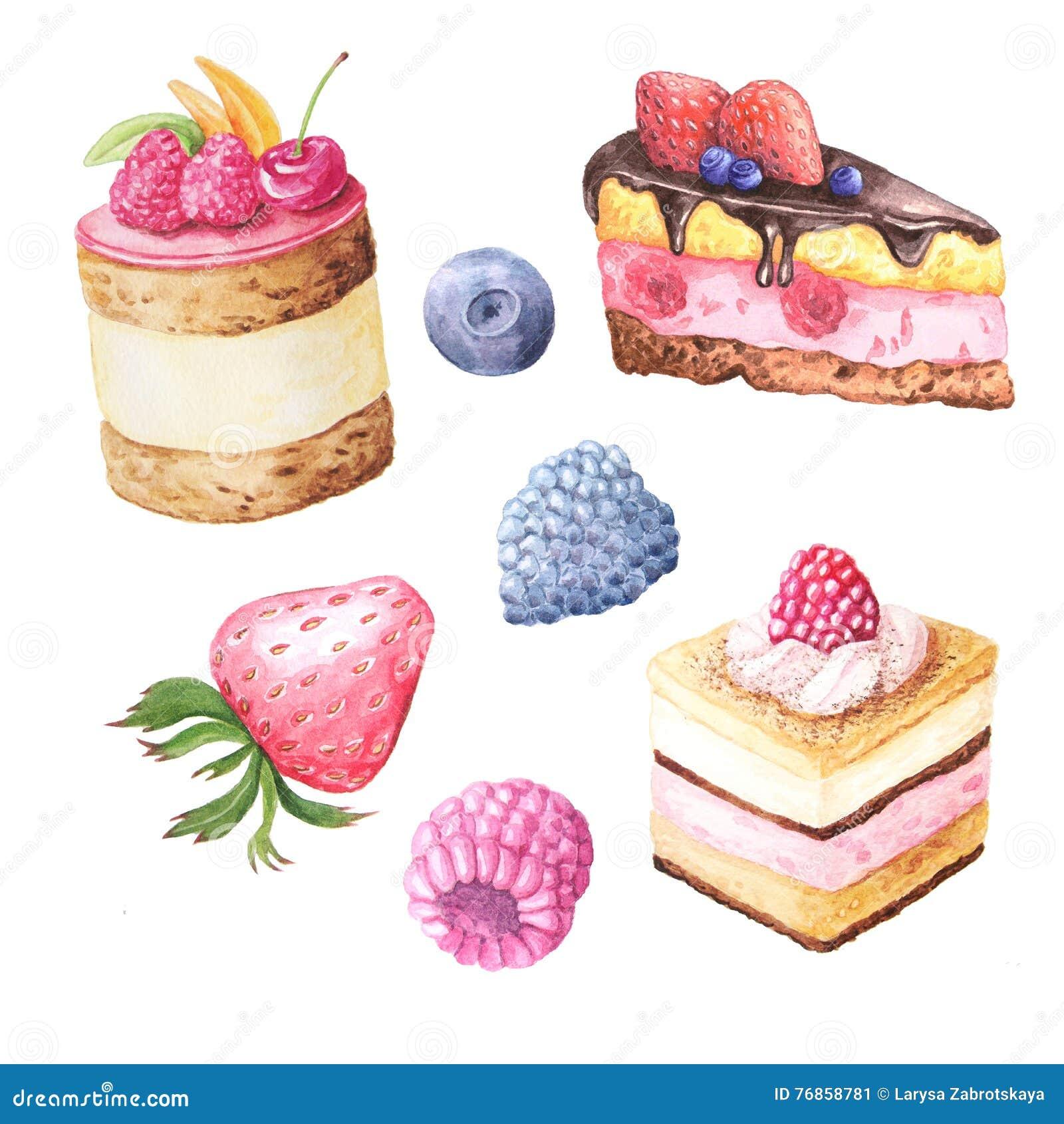 Aquarellfruchtkuchen und -beeren
