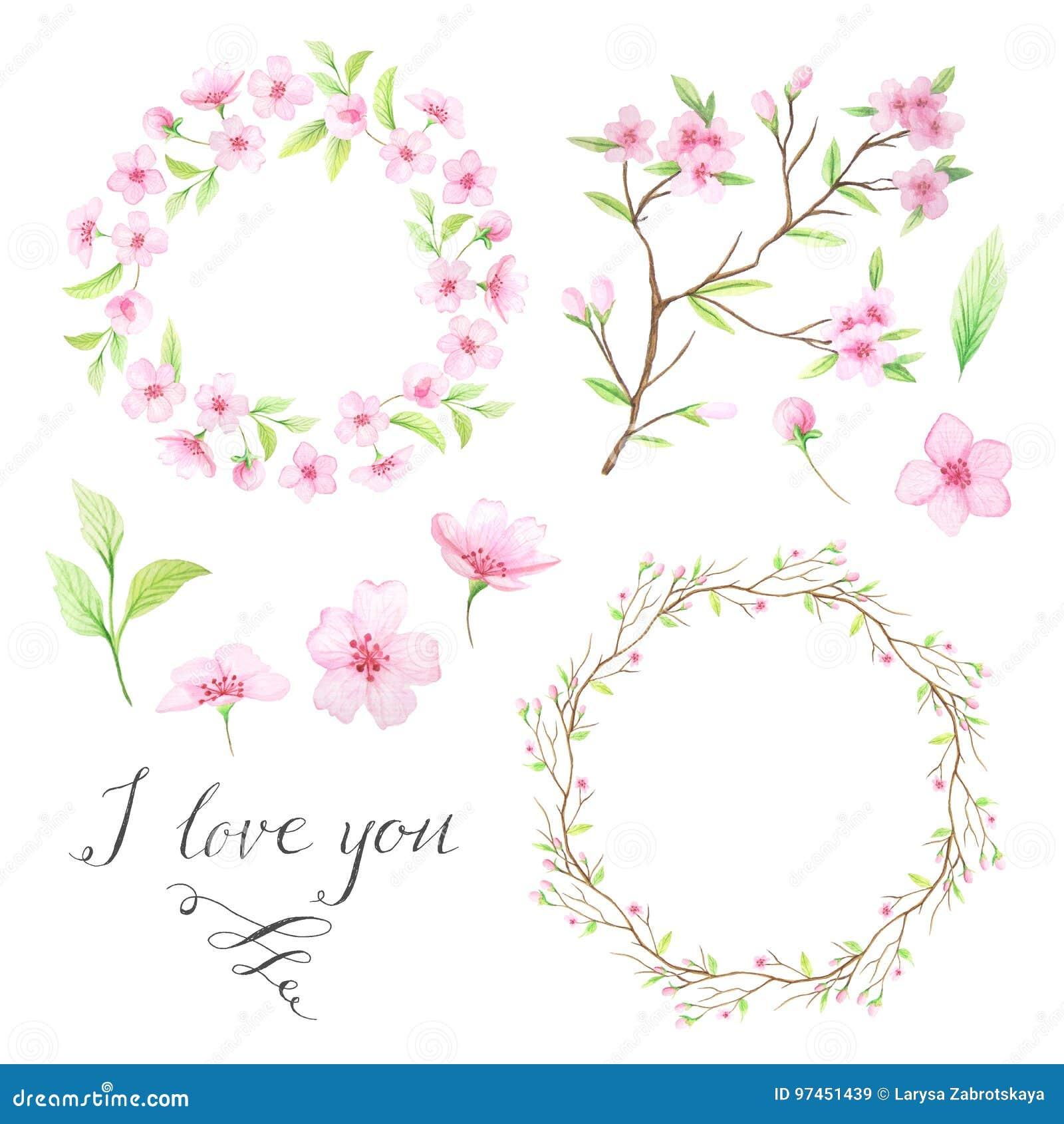 Aquarellhandgemalter Blumenkranz Stockbild - Bild von pastell ...