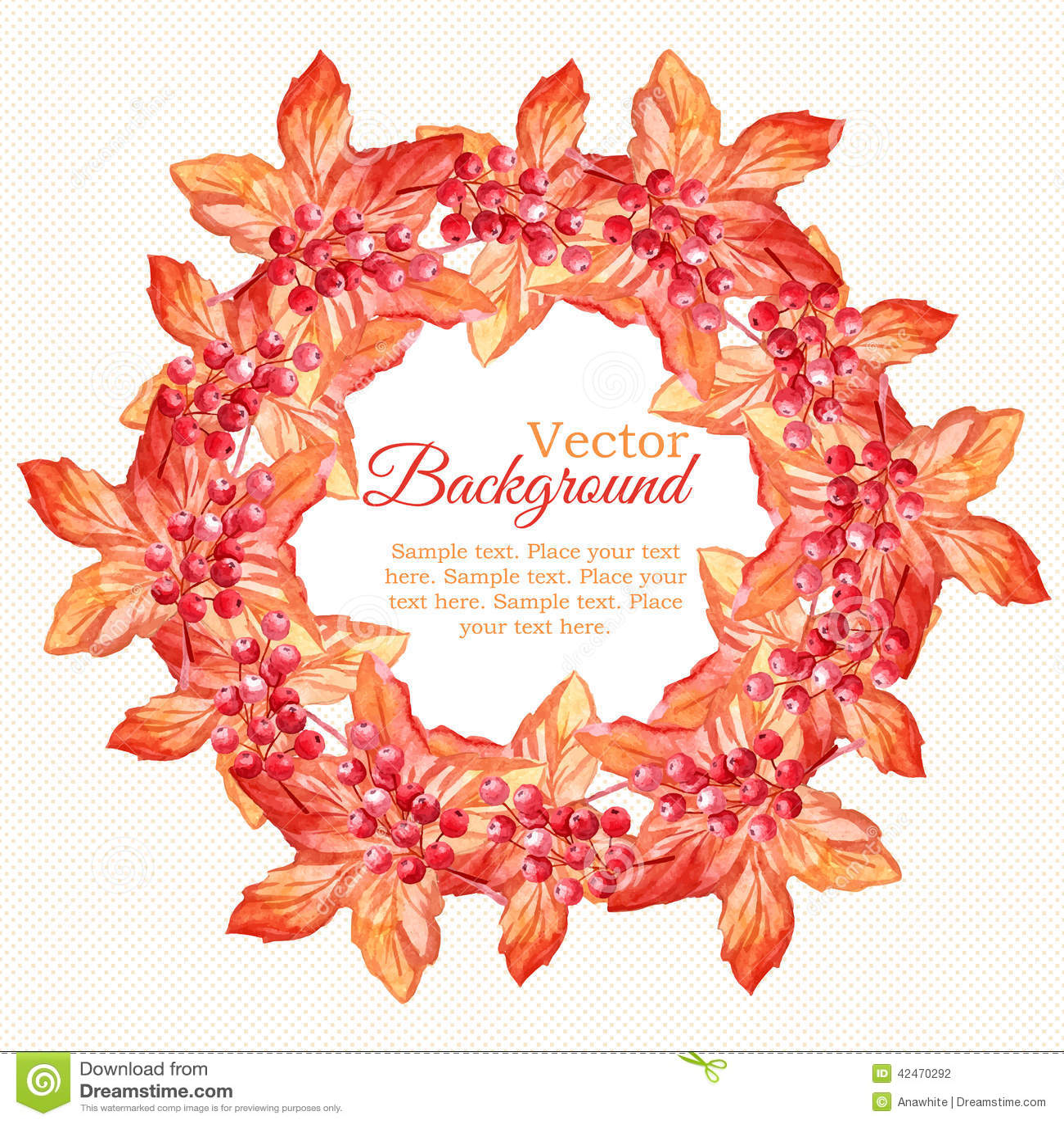 Aquarellherbstkranz mit Blättern und Beeren