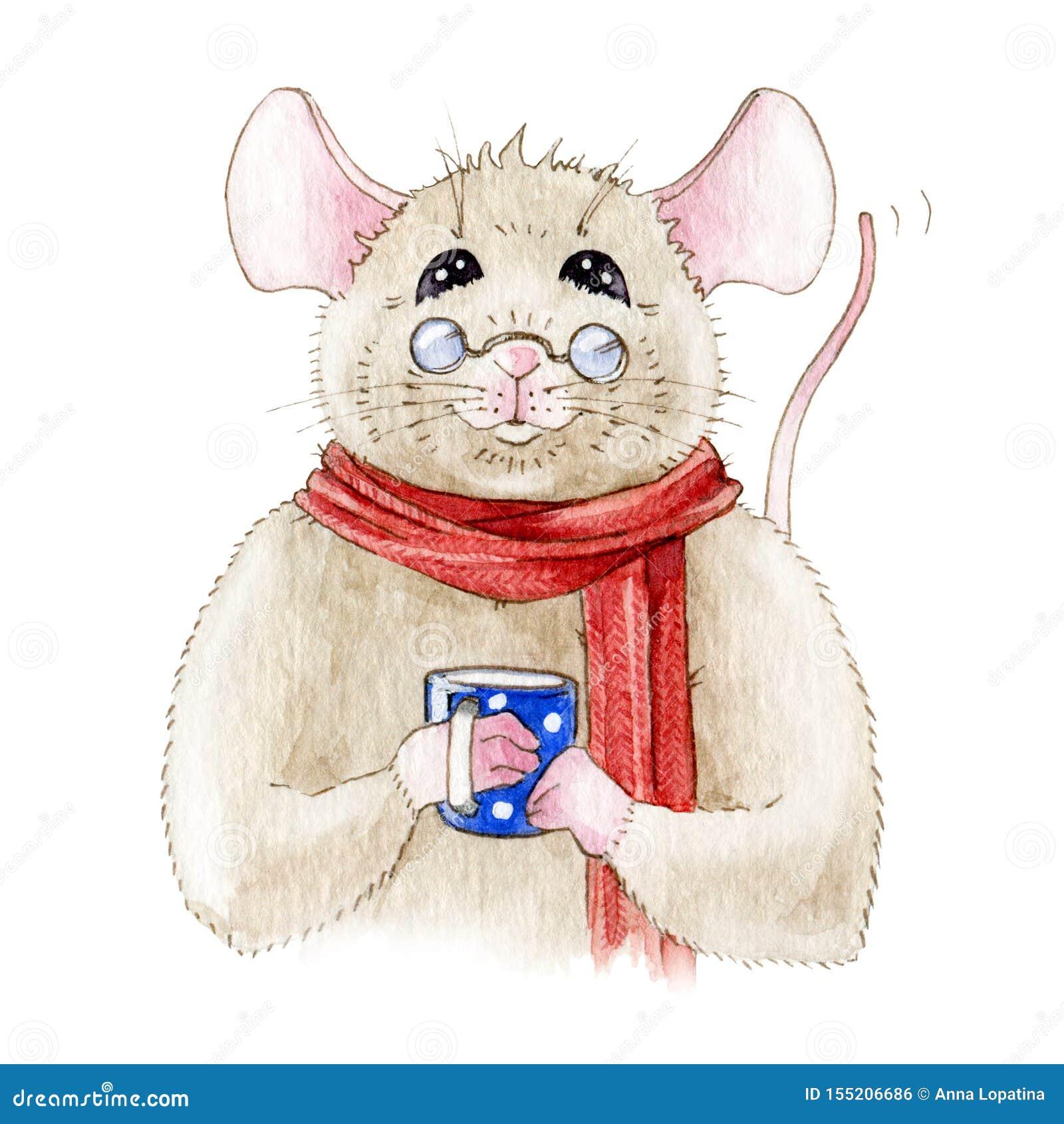 Aquarellillustration einer lustigen kleinen Maus in einem roten warmen Schal Nette freundliche Ratte mit einer blauen Schale, tra
