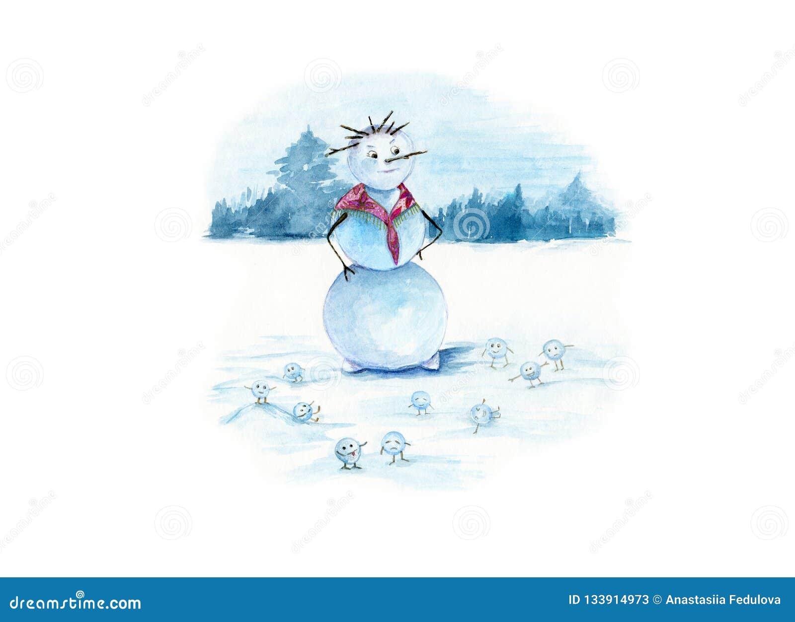 Aquarellillustration eines snowwoman mit vielen kleinen lustigen Schneebällen auf einem weißen schneebedeckten Hintergrund