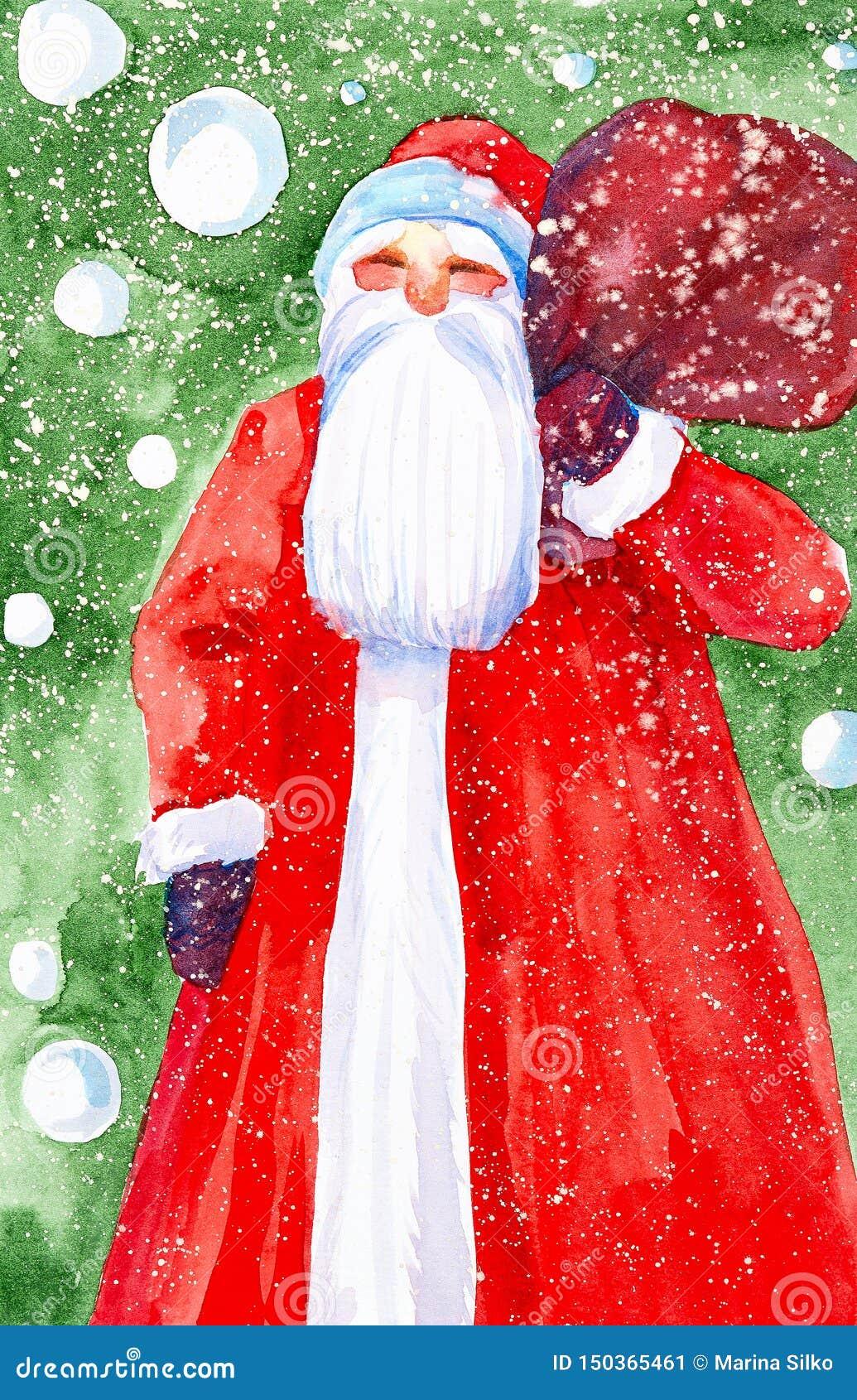 Aquarellillustration von Santa Claus mit einer Tasche von Geschenken auf dem Hintergrund eines Weihnachtsbaums und des fallenden