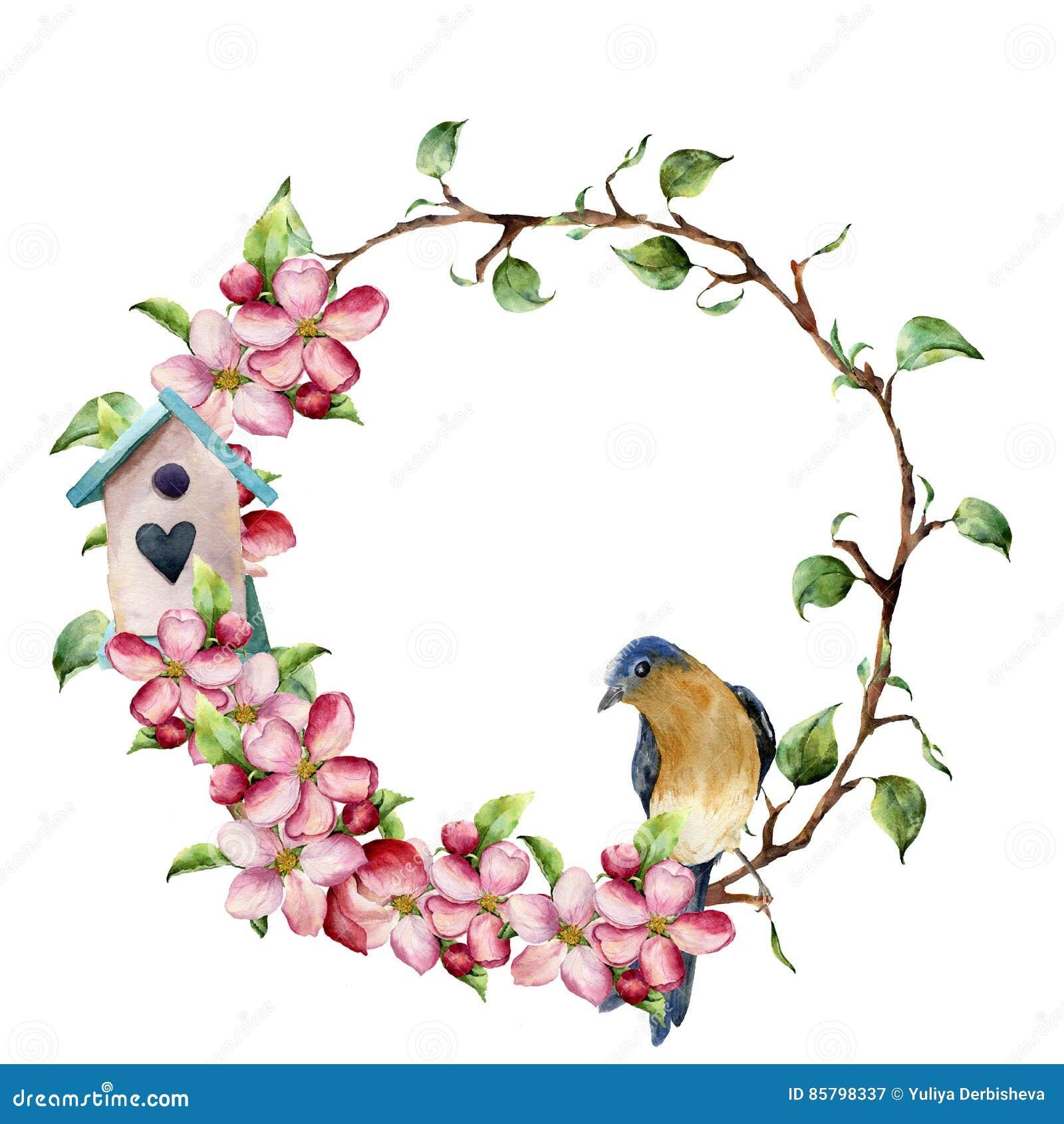 Aquarellkranz mit Baumasten, Apfelblüte, Vogel und Vogelhaus Handgemalte Blumenillustration an lokalisiert