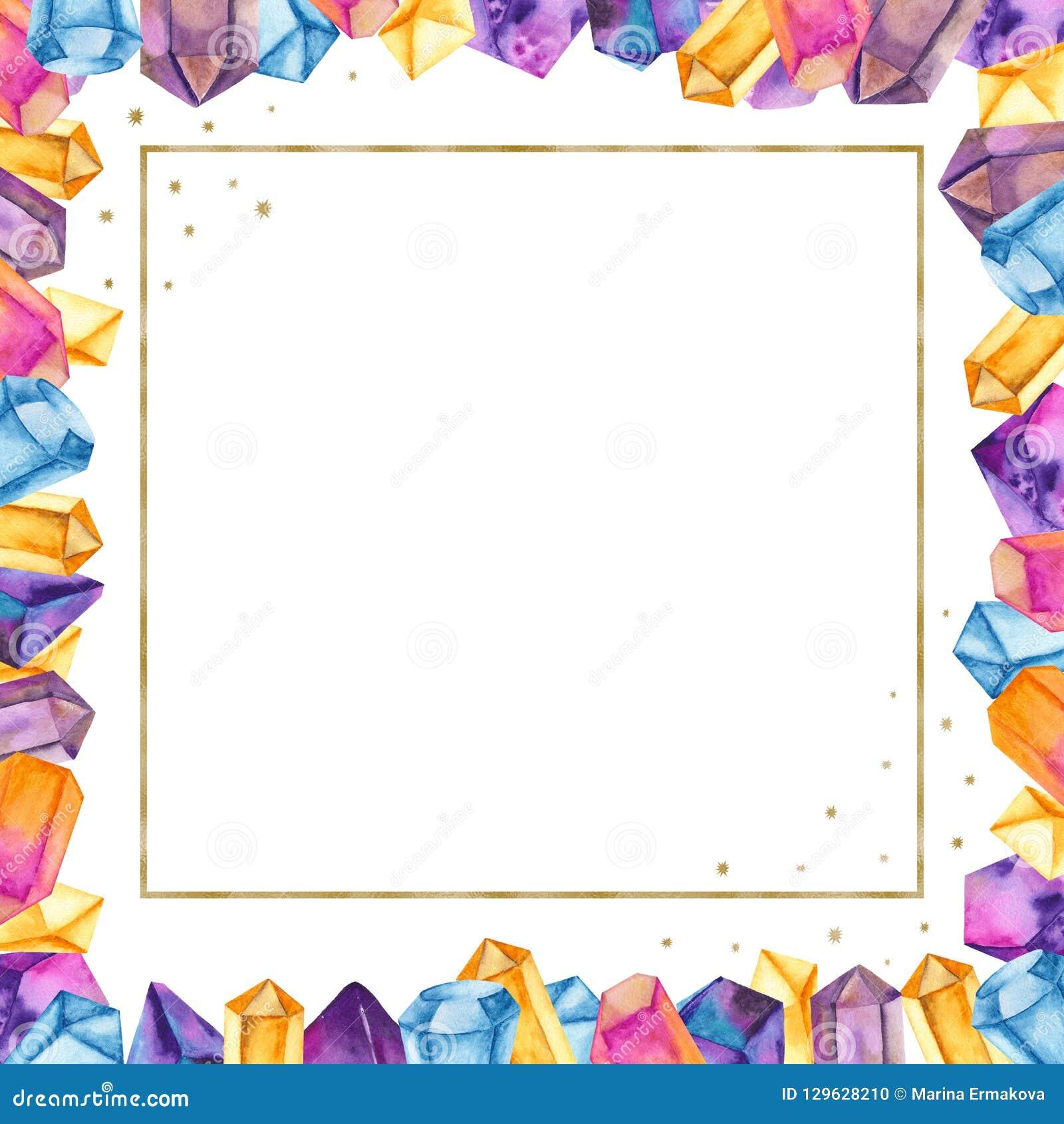 Aquarellkristalle In Einem Goldenen Quadratischen Rahmen