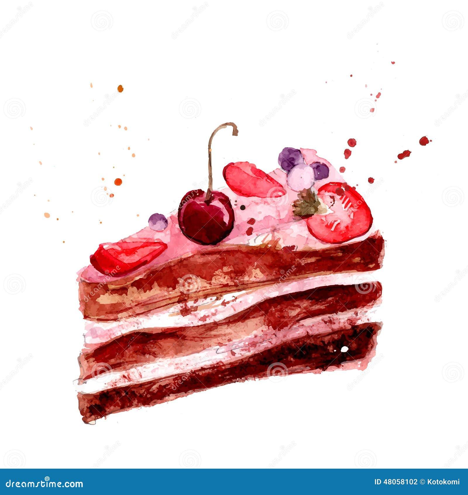 Aquarellkuchen mit rosa Fruchtcreme, -kirsche und -erdbeere