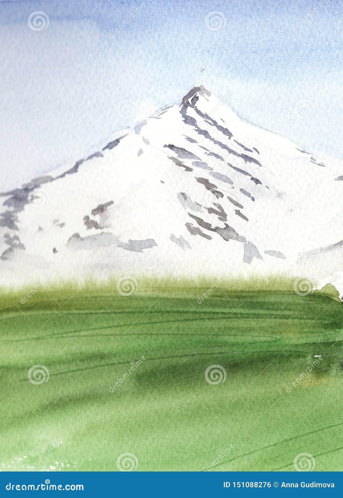 Aquarelllandschaft mit Berg und grüner Wiese, minimalistic Art
