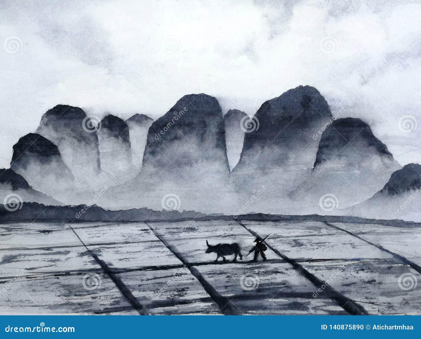 Aquarelllandschaftschinesisches Gebirgsfeld mit Büffel- und Landwirtmann in der Landschaft traditionelle orientalische Tintenasie