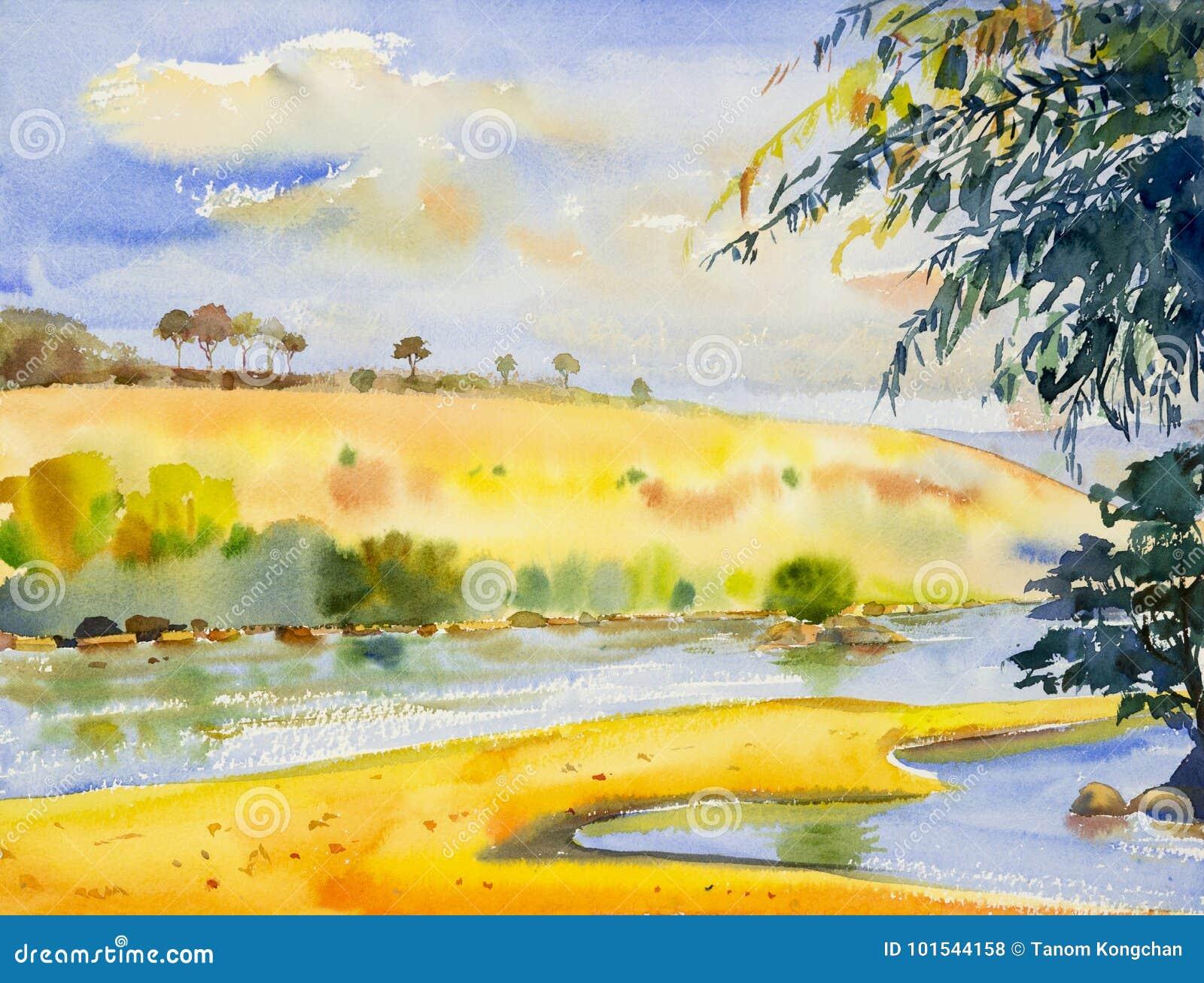 Aquarelllandschaftsursprüngliche Malerei bunt vom Fluss und von mou