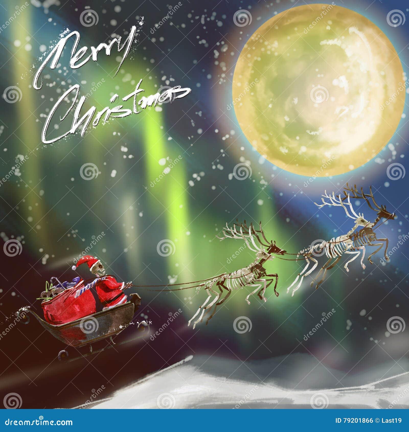 Digitale Weihnachtskarten.Aquarellmalerei Und Digitale Gemalte Weihnachtskarten Santa