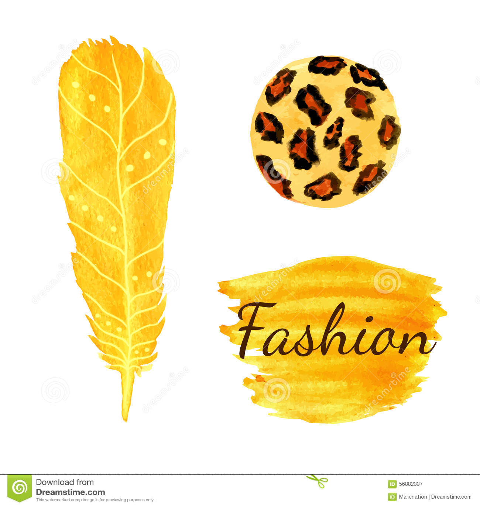 Aquarellmode eingestellt in gelbe Farbe Leopardkreisbeschaffenheit, Feder Ethnischer Vektor