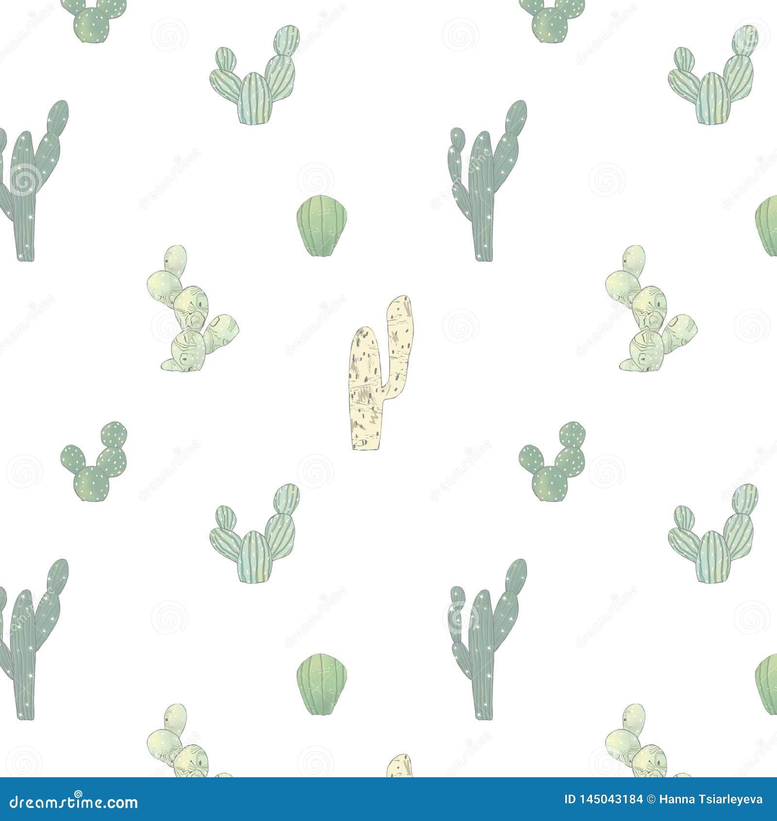 Aquarellmuster mit unterschiedlichem Kaktus o Nat?rliche Handzeichnender Hintergrund mit W?ste