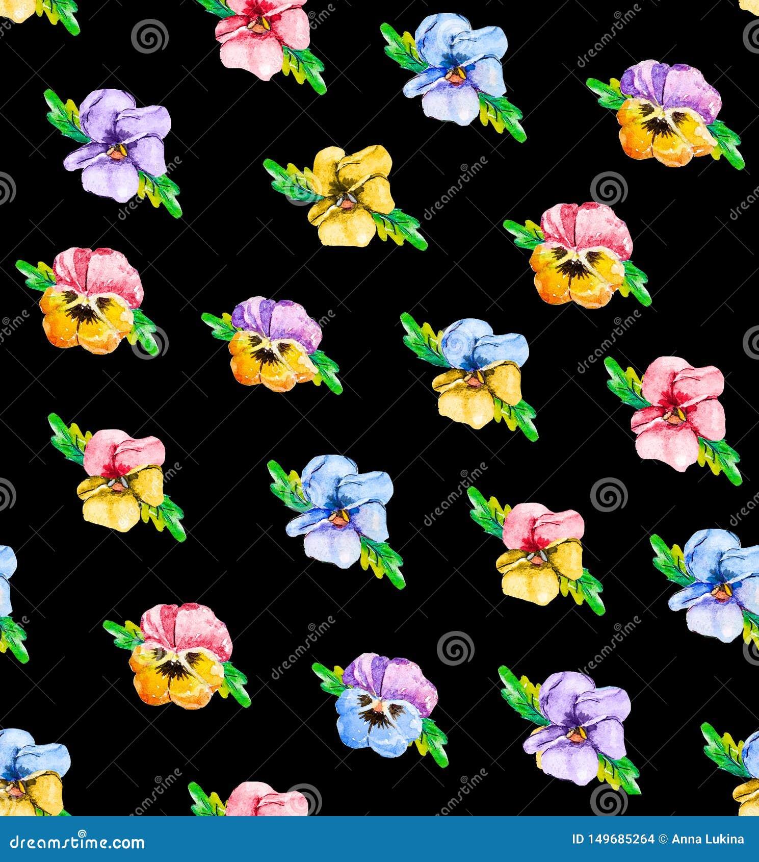 Aquarellnahtloses Blumenmuster mit Stiefmütterchenviola Blaue, Rosa-, Rote und Gelbeblumen auf einem weißen Hintergrund, im schwa