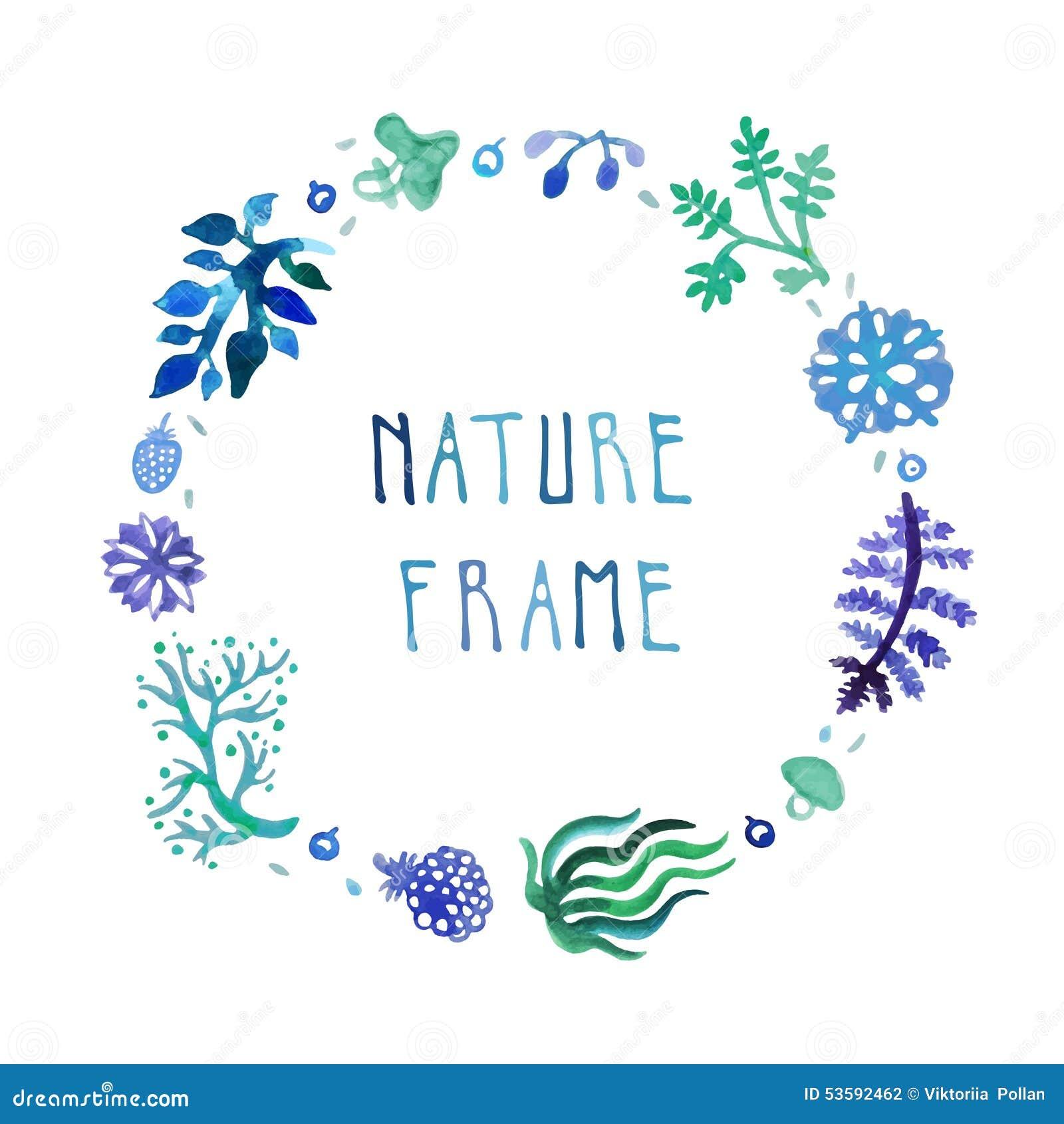 Aquarellnatur-Vektorrahmen mit handgeschriebenem Text mit Blumen, Beeren und Anlagen