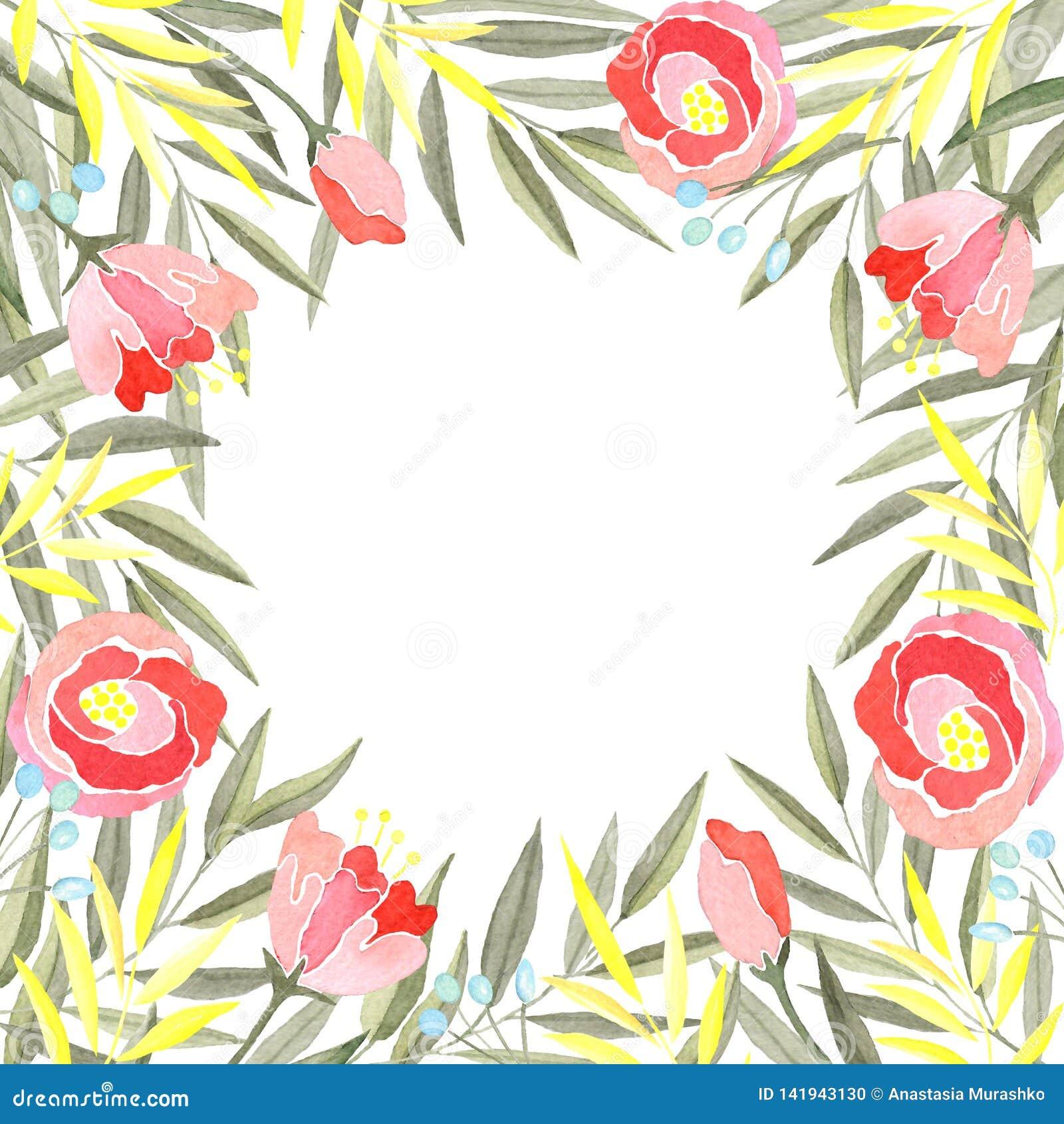 Aquarellrahmen von Niederlassungen mit den grünen und gelben Blättern, den Blumen und den Beeren